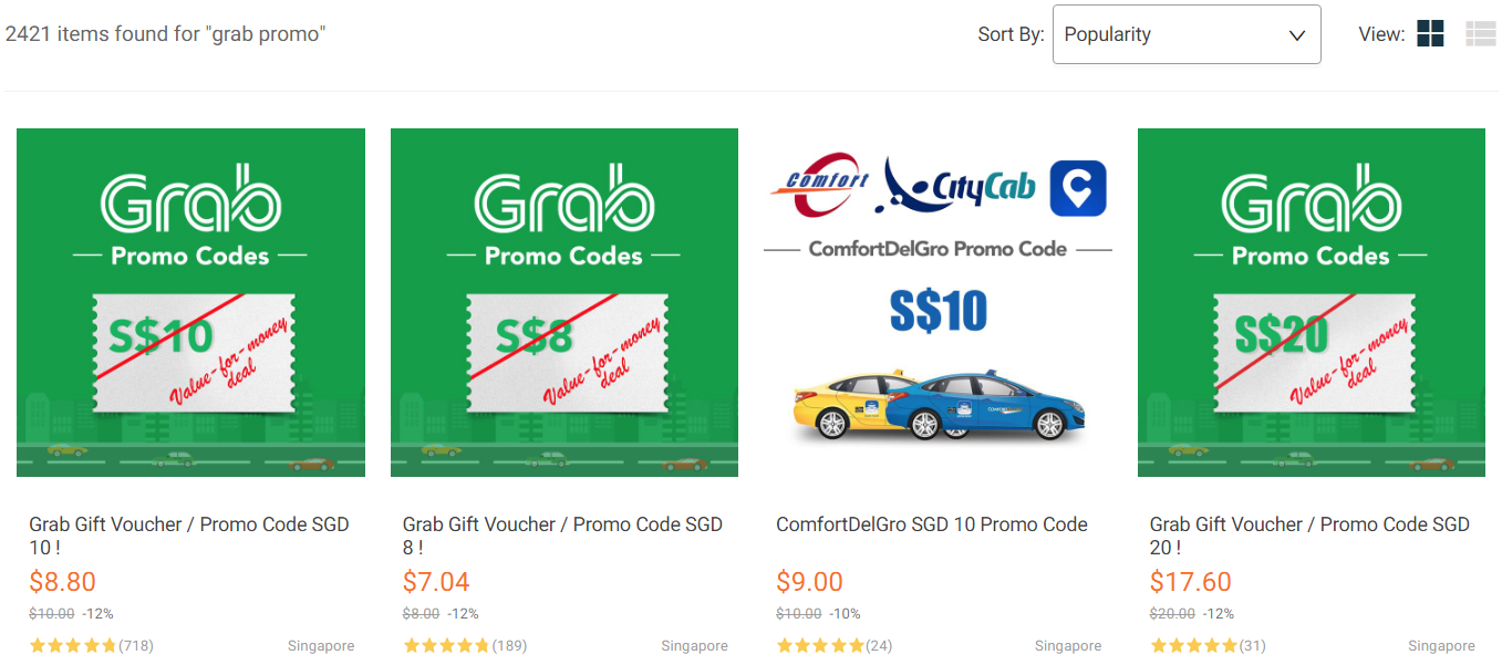 "First line of search results on Lazada for ""grab promo"""