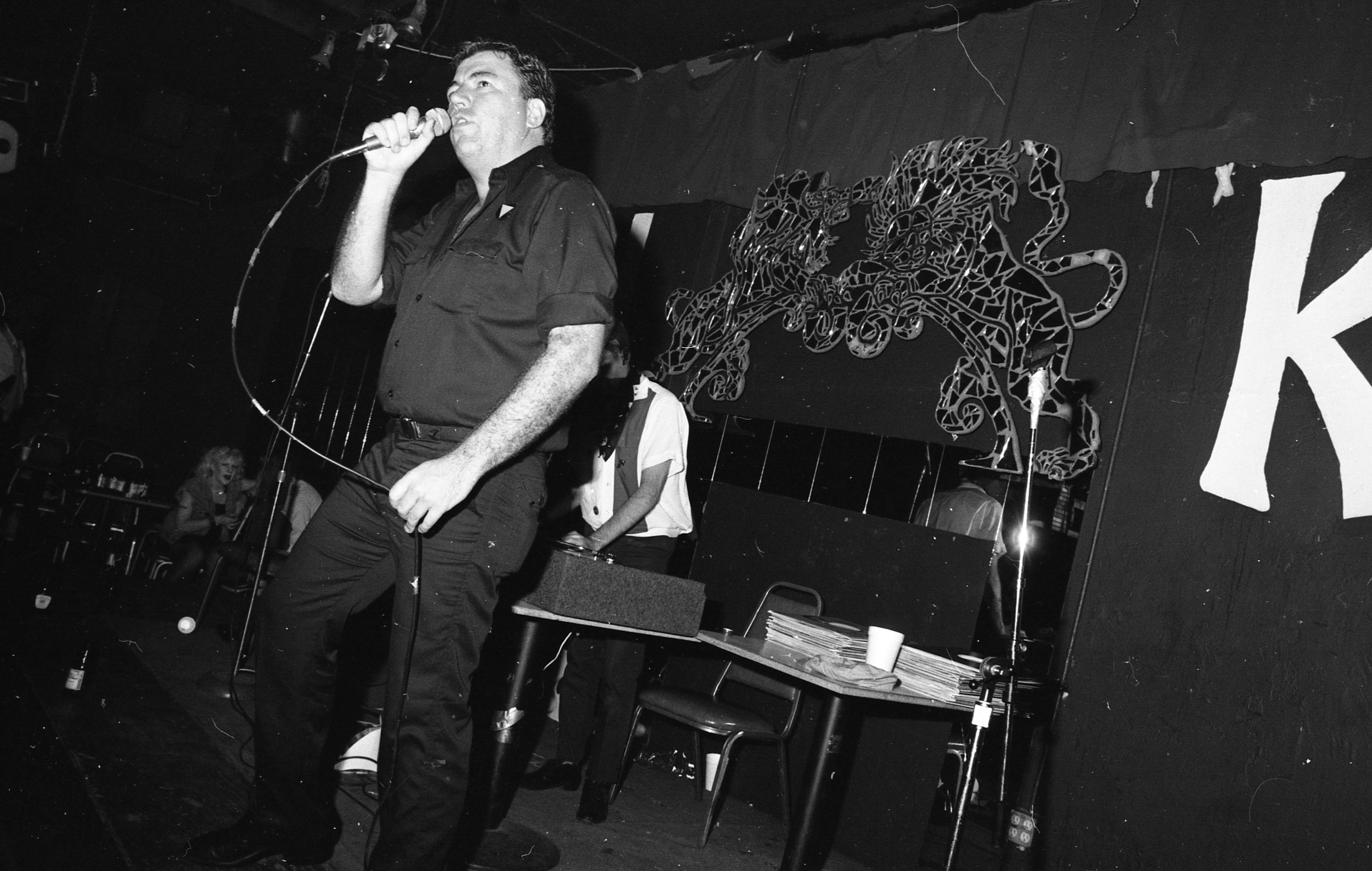John Callahan (1945-2003) of gay rap duo, Age of Consent, rap night, On Klub, Los Angeles, August 1981