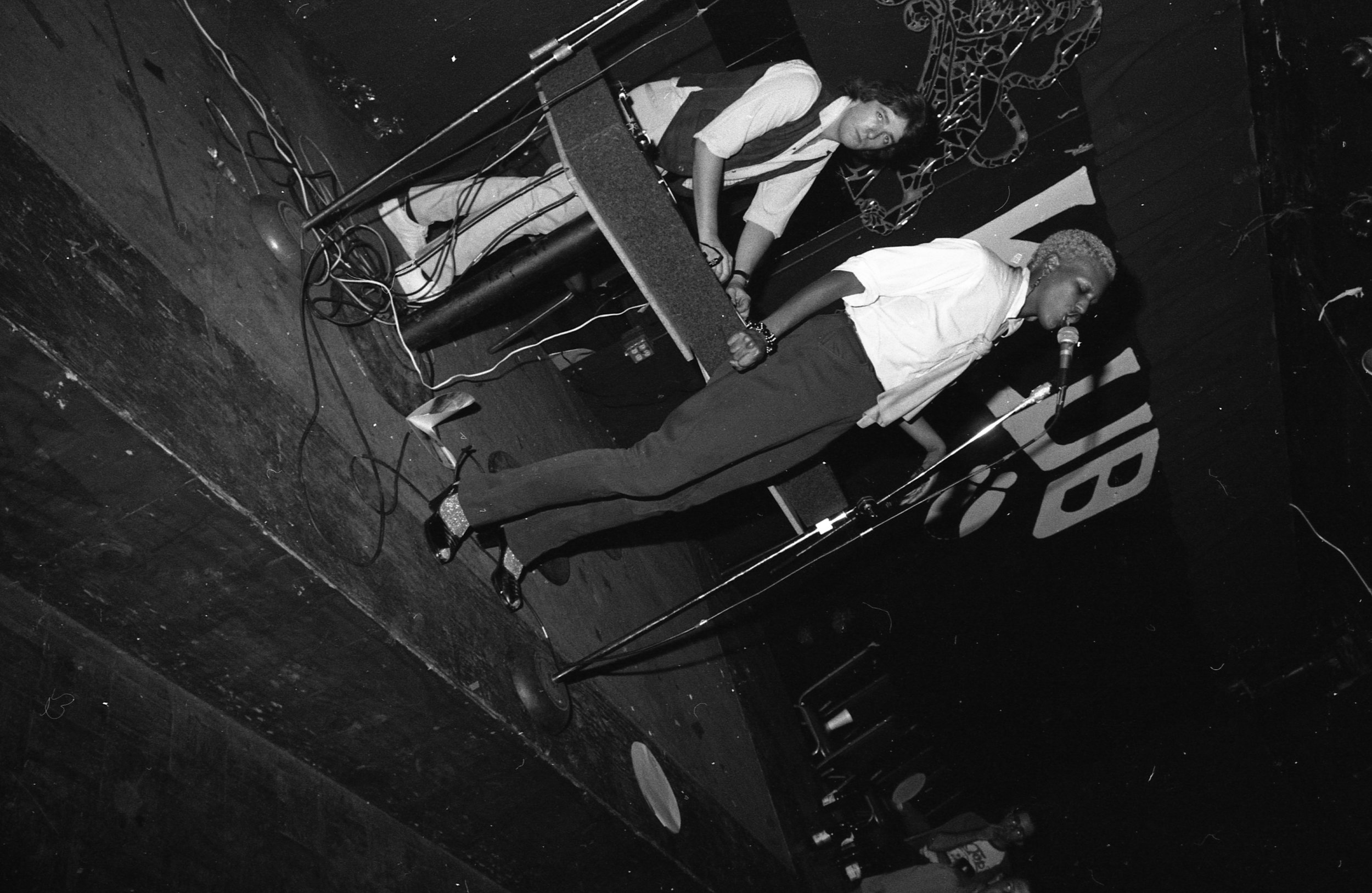 Taquila Mockingbird performs, rap contest, On Klub, Los Angeles, 1981