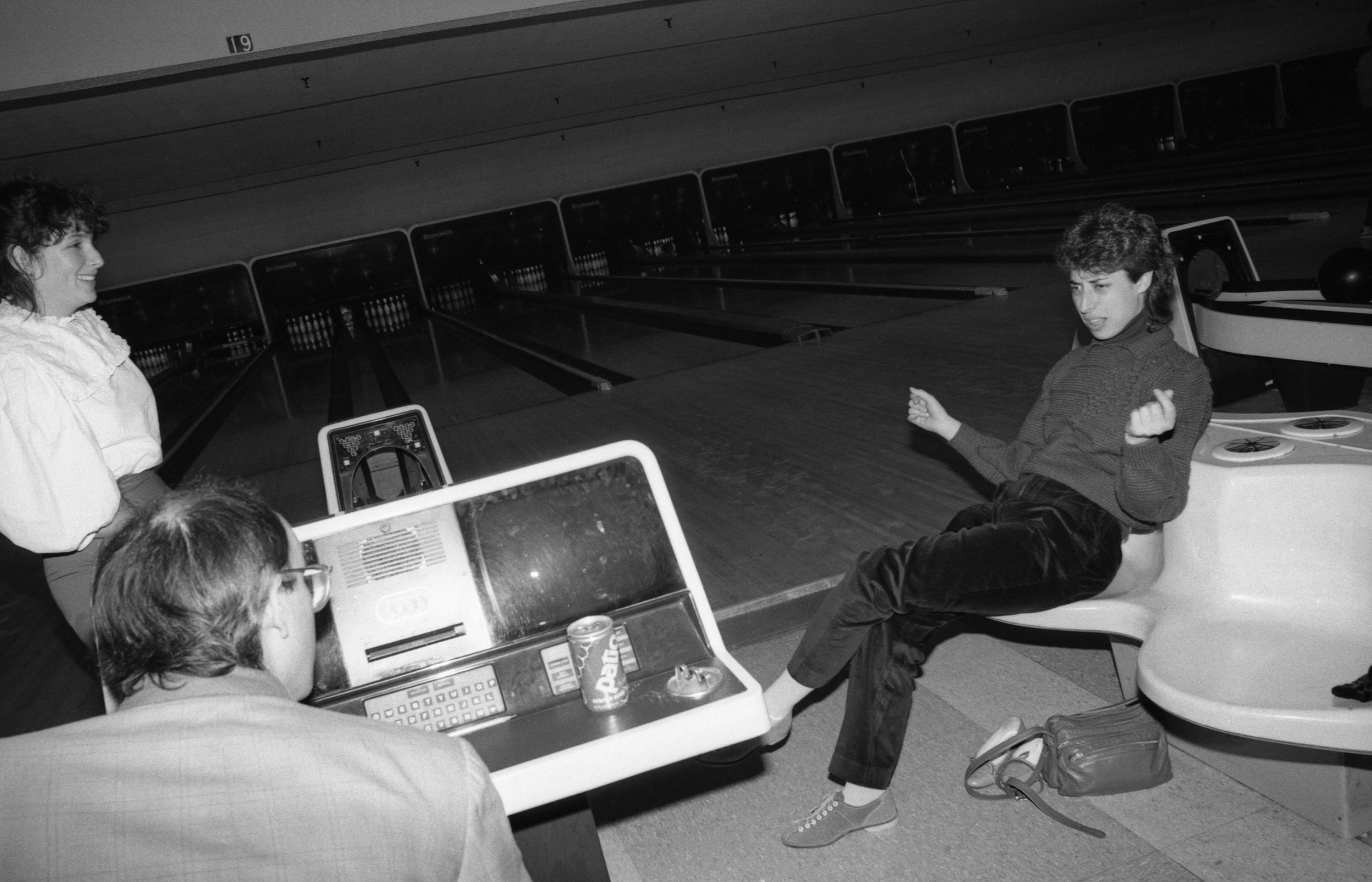 Sushi bowling, Los Angeles, January 1982. Left to right: Nancy Youdelman, Jeff Spurrier, Carol Kaufman.