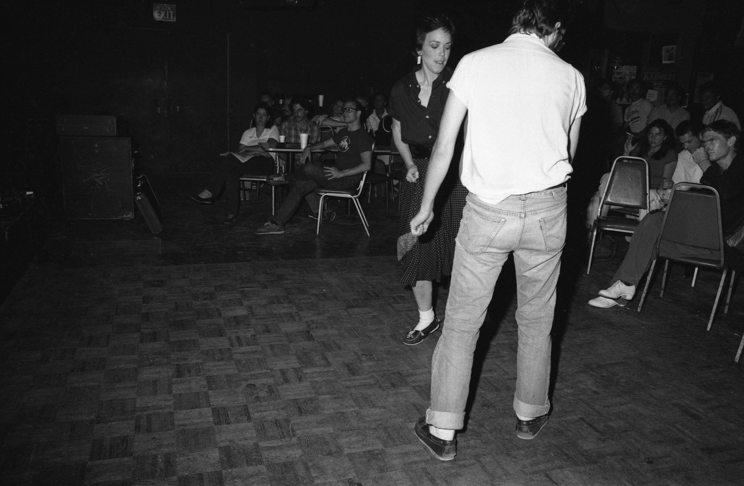 Katie and Tom charm the crowd at the On Klub, Los Angeles. About 1981.