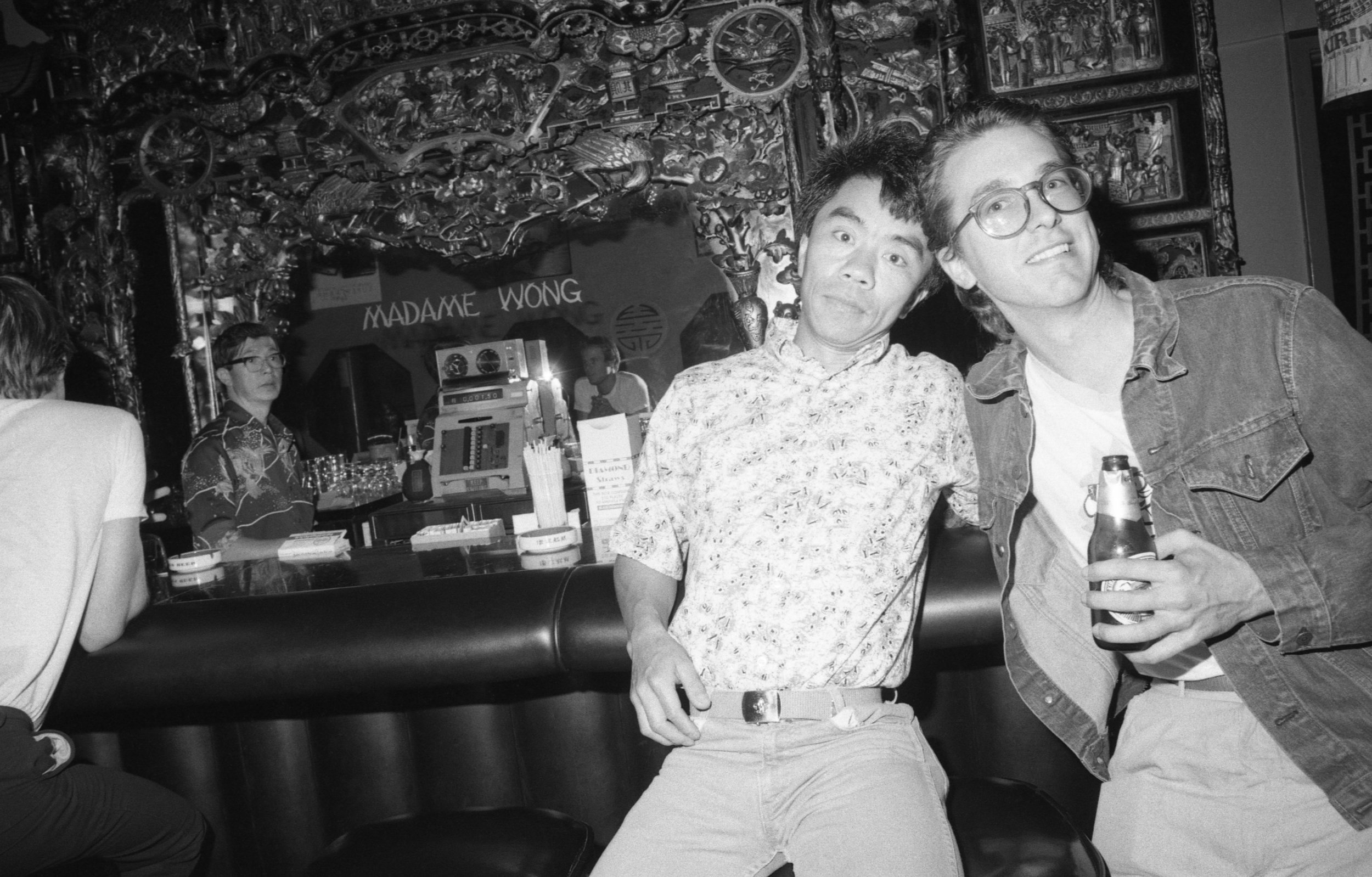 Madame Wong's, Hisao and Tom at the bar. Los Angeles, 1981.