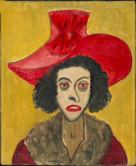 Alice Neel,  Woman in Pink Velvet Hat , 1944. Philadelphia Museum of Art. Gift of the estate of Arthur M. Bullowa, 1993-119-3. © Estate of Alice Neel.