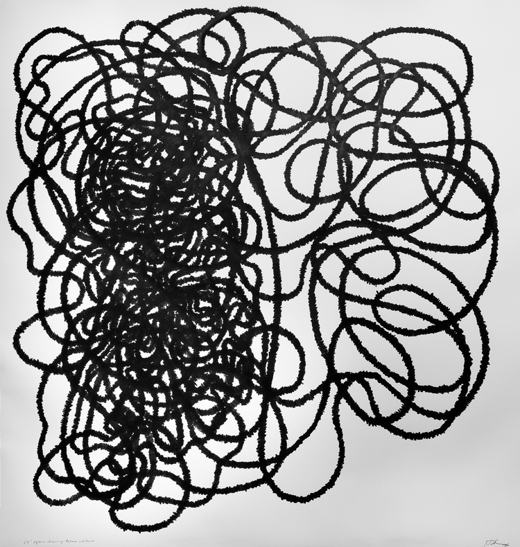 "Lyn Horton,  70"" Square Black & White Drawing,  2014."
