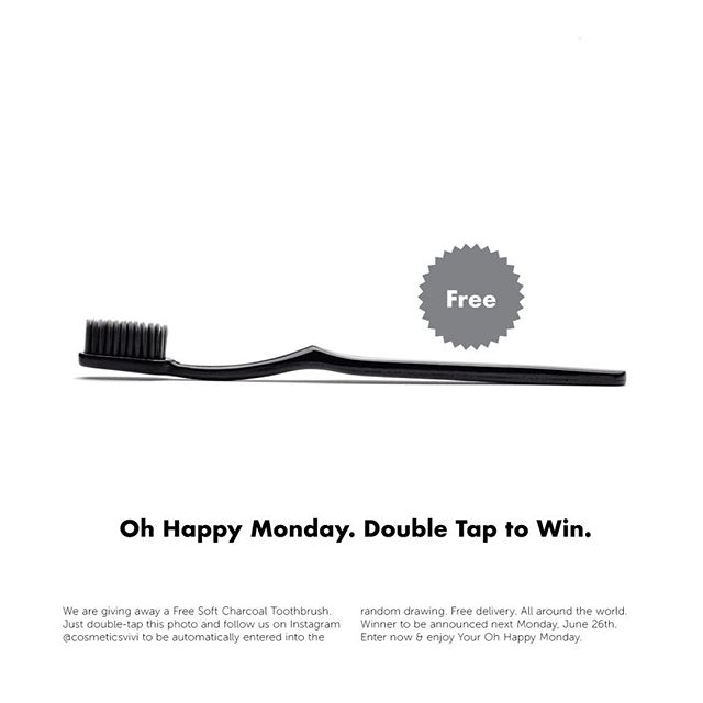 Oh Happy Monday is back again! This time we are giving away a Free Charcoal Toothbrush. Just double-tap this photo and follow us on Instagram @cosmeticsvivi to be automatically entered into the random drawing. Free delivery. All around the world. Winner to be announced next Monday, June 26th. Enter now & enjoy Your Oh Happy Monday. #activatedcharcoal #whiteteeth #smiles #teethwhitening #whitesmile #natural #amazonuk #amazonprime #toothbrush #charcoaltoothbrush #freegiveaway #giveaway #giveaways #freeproduct