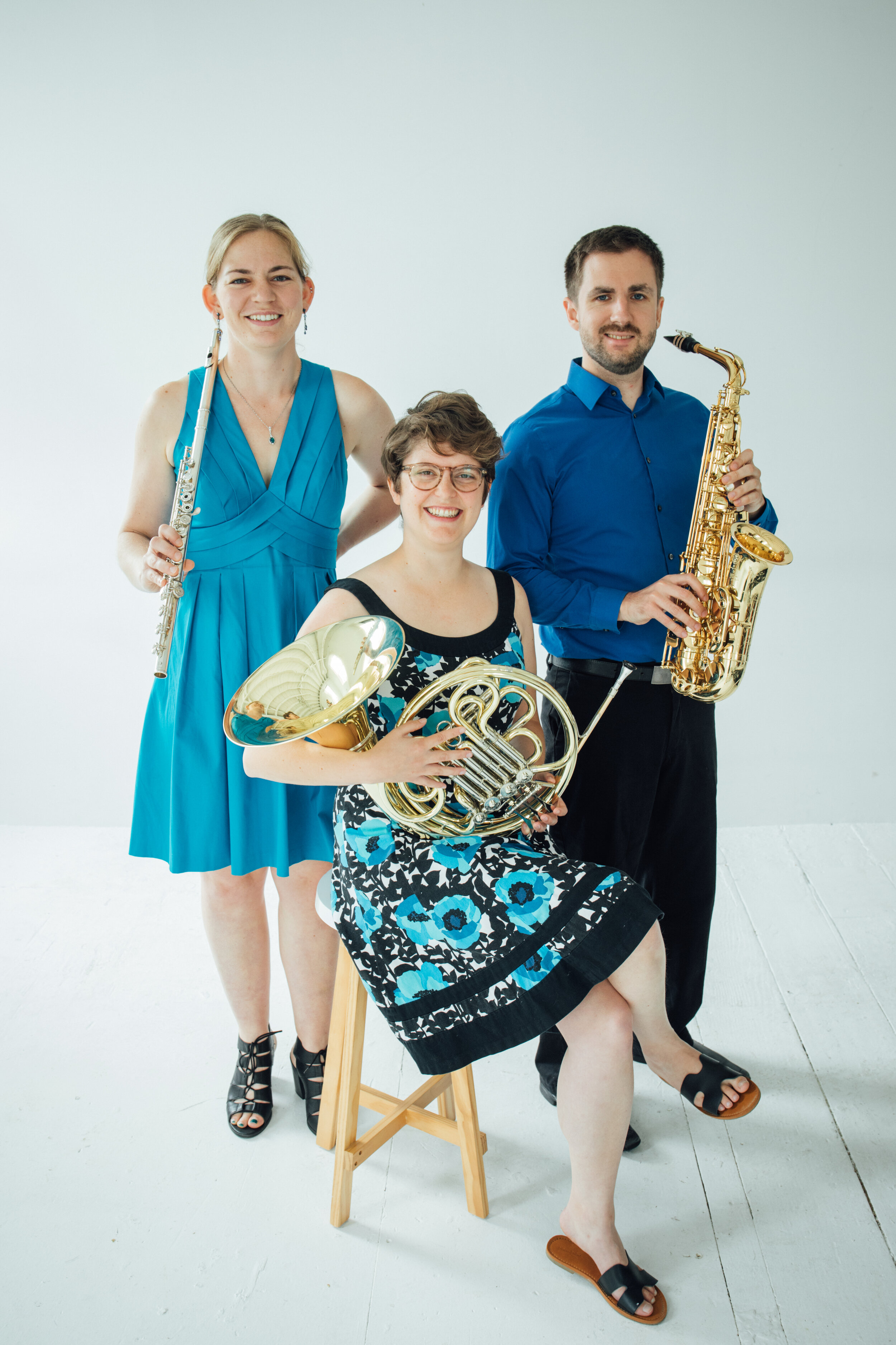 Onomatopoeia - Onomatopoeia (all alternate spellings accepted) is Cassie Lear, flutes; Soren Hamm saxophones; and Rebecca Olason, French horn. Faced with a menagerie of seldom-paired instruments and no repertoire whatsoever, these three award-winning soloists and longtime friends came together anyways to create a new kind of chamber ensemble. The result is a versatile, 21st century sound that makes everything – from classical to folk to contemporary music – sound fresh and new.Onomatopoeia has many upcoming shows; check the calendar for more information. We are currently working on our local composers project; a recital series and recording of 10 new pieces commissioned from local composers. More information at www.onomatopoeiatrio.com