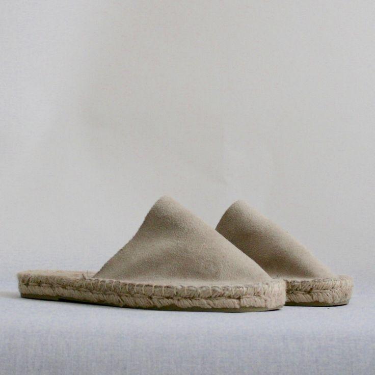 Grey faux sheepskin espadrilles