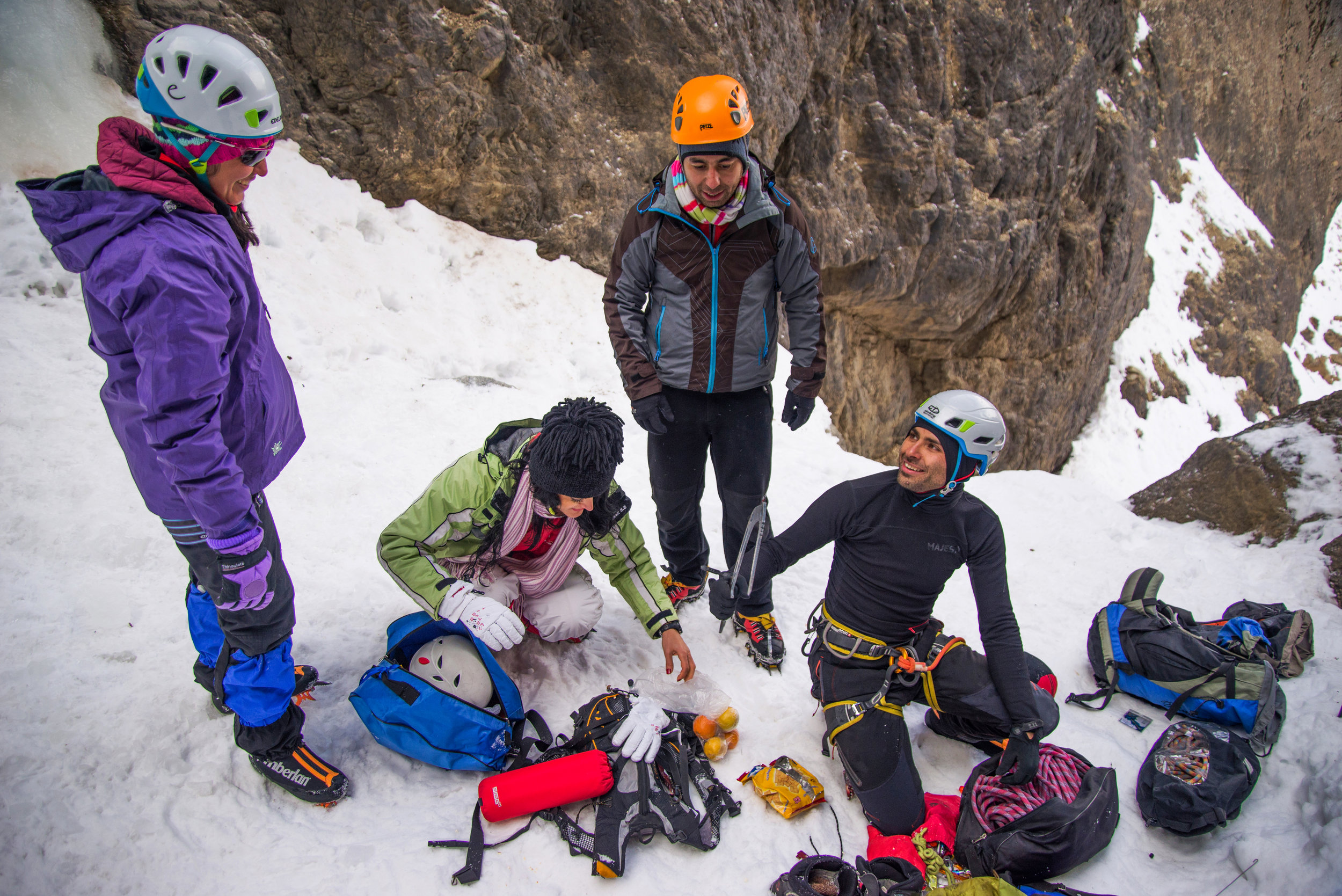 Ice climbing creates a relaxed  atmosphere for socializing among Shiva and her friends after they are done with the activity.