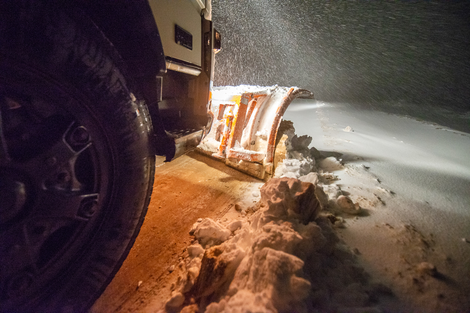 Snow removal at the country of sun -