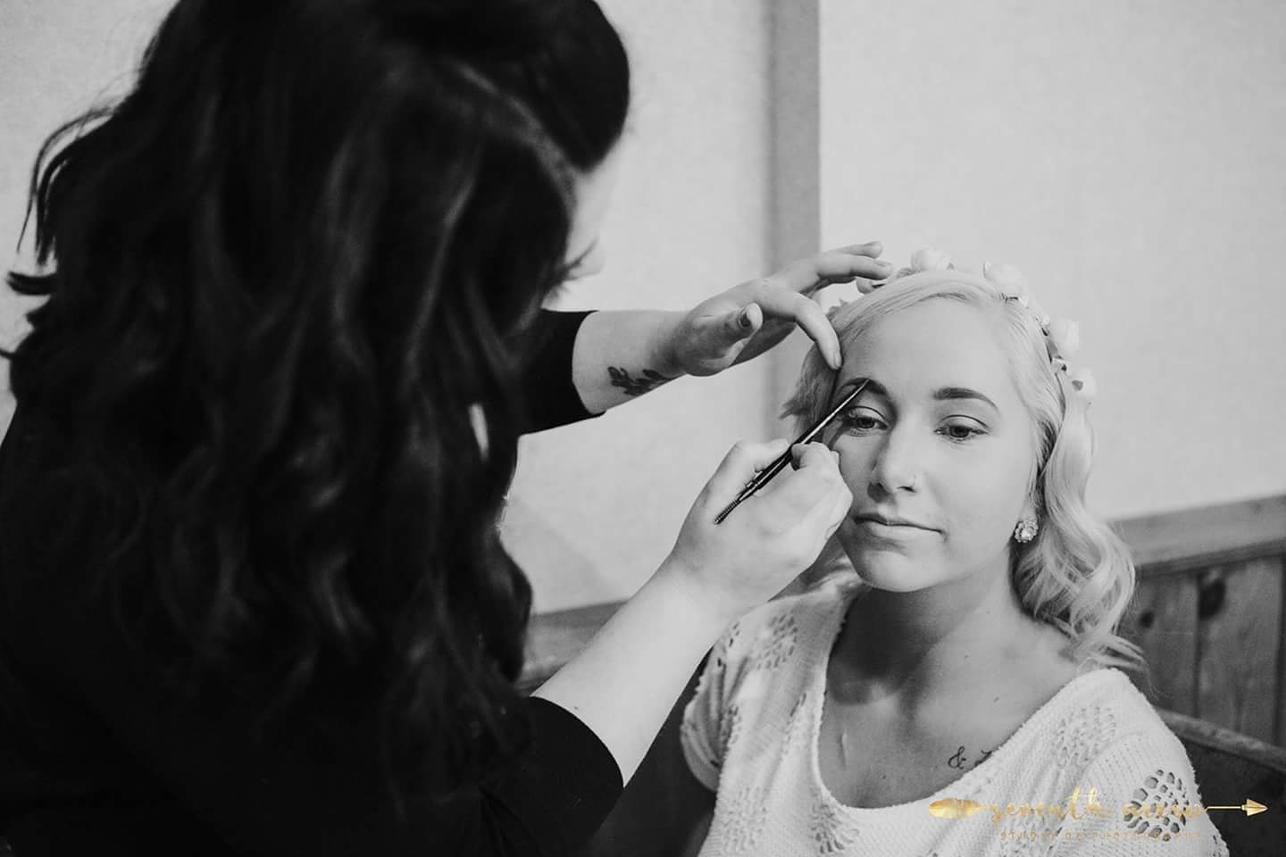 Glamming up my model Mallory for the local 'Love in Lockport' Bridal Show!