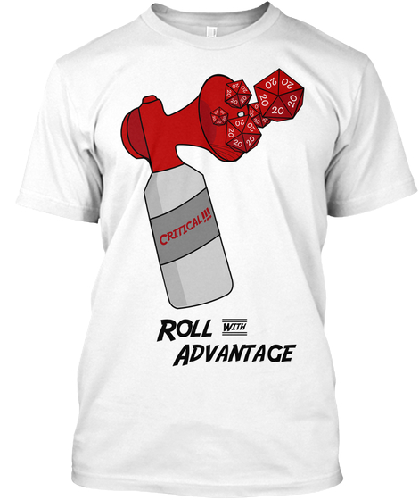 Show your Support for Roll with Advantage! - Beewu Bah Beewu Beewu Beewu!!!The Critical is the most coveted of rolls, and, when you are in a jam, it is all ways welcome. The Crit-Horn t-shirt gives you advantage in all Charisma Checks and can even help you impress fellow nerds. It also helps support Roll with Advantage.