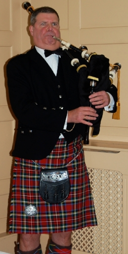 Piping at a dinner.    Royal Scots Club,    Abercrombie Place,    Edinburgh