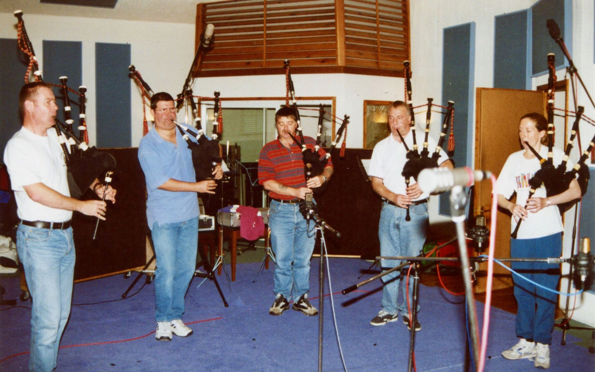 In the recording studio a few years back. Left to right, John Fraser, Me, Rab Fairbairn, Kenny McBride and Jenny Hazzard