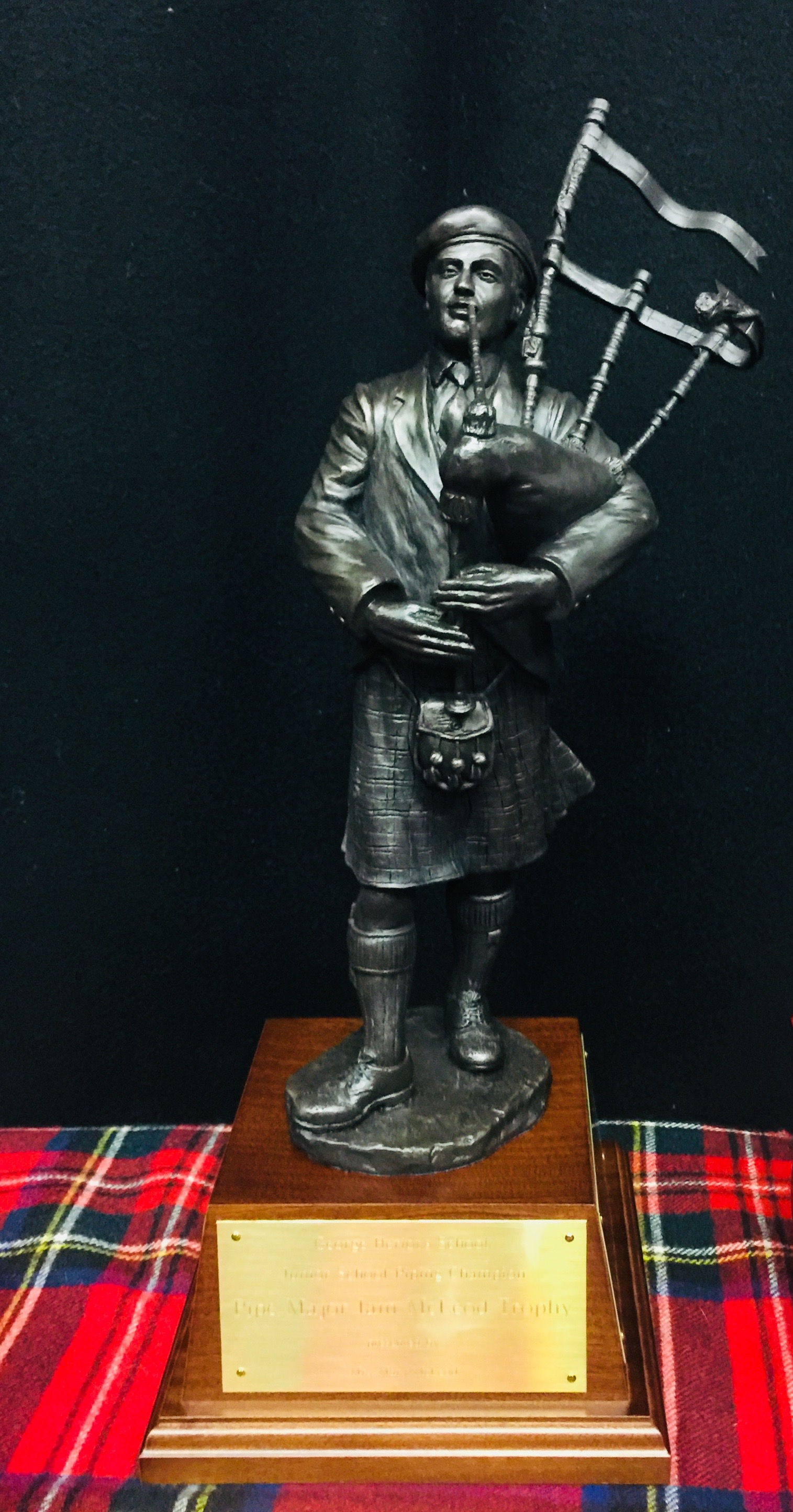 The new Iain McLeod trophy for the champion piper at George Heriot's School
