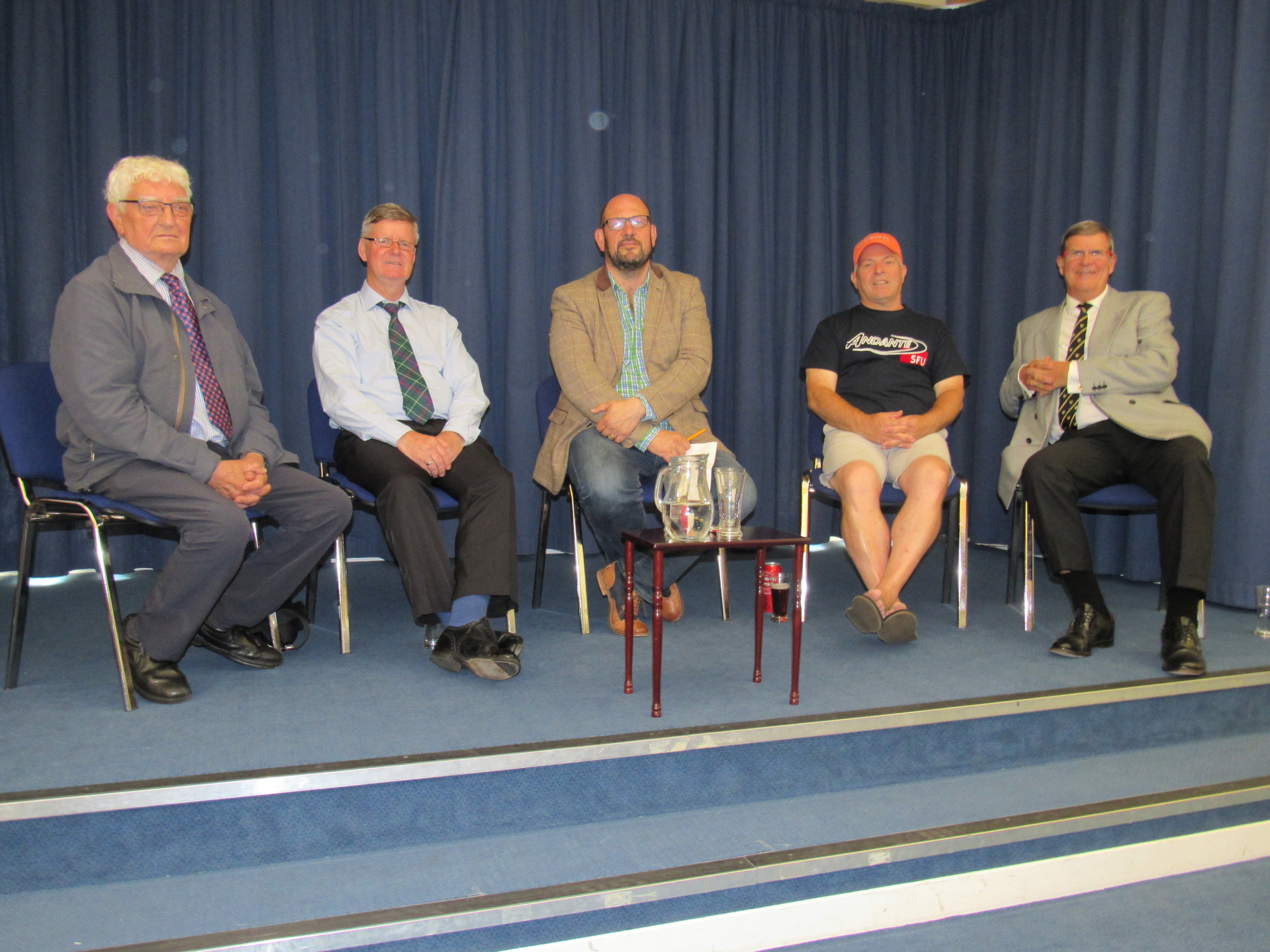 August 2018 Piping Live. The College of Piping.Q and A session chaired by Gary West.I am far right with Reid Maxwell on my right.