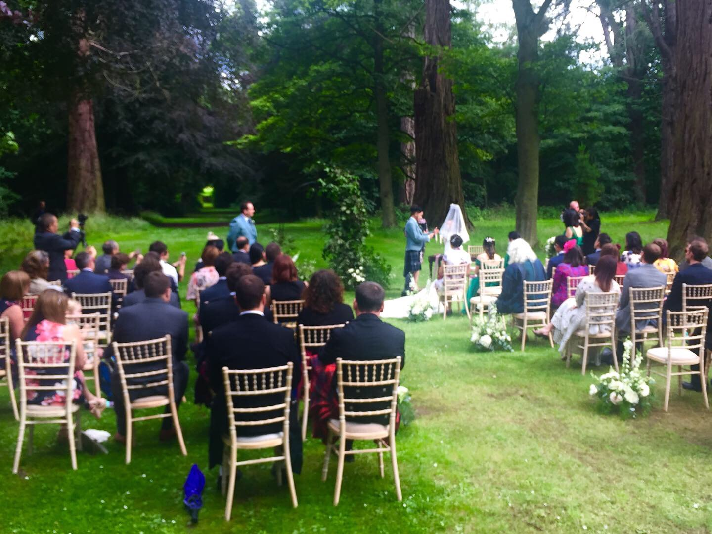 An outdoor wedding at Oxenfoord Castle Pathhead. The couple from Hong K,ong, Wing Biu Chan and Ka Yan   Lo   made a brave decision but got away with it. Lovely setting.