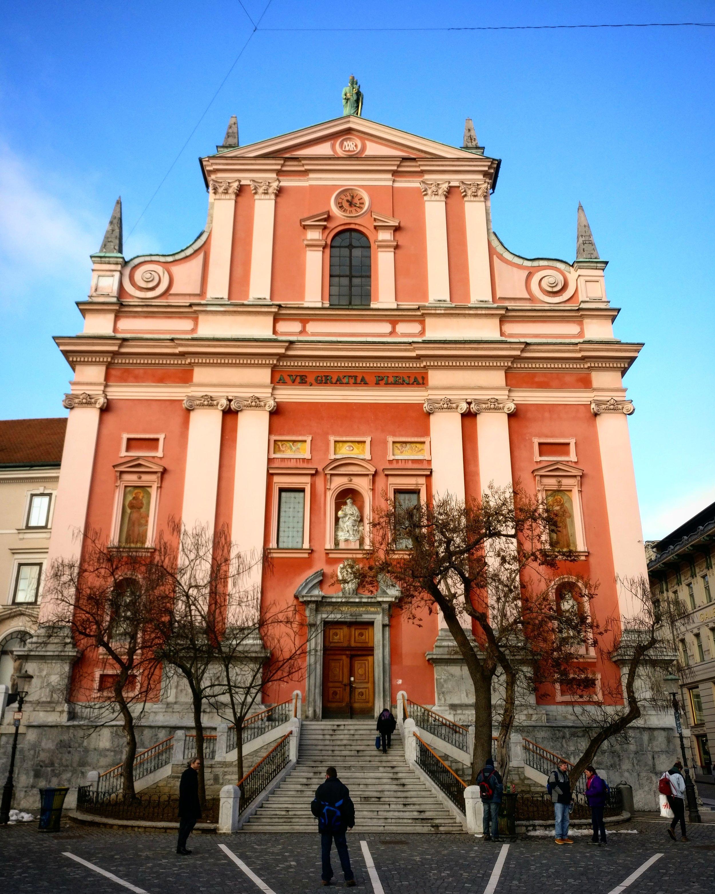 Ljubljana's pink church