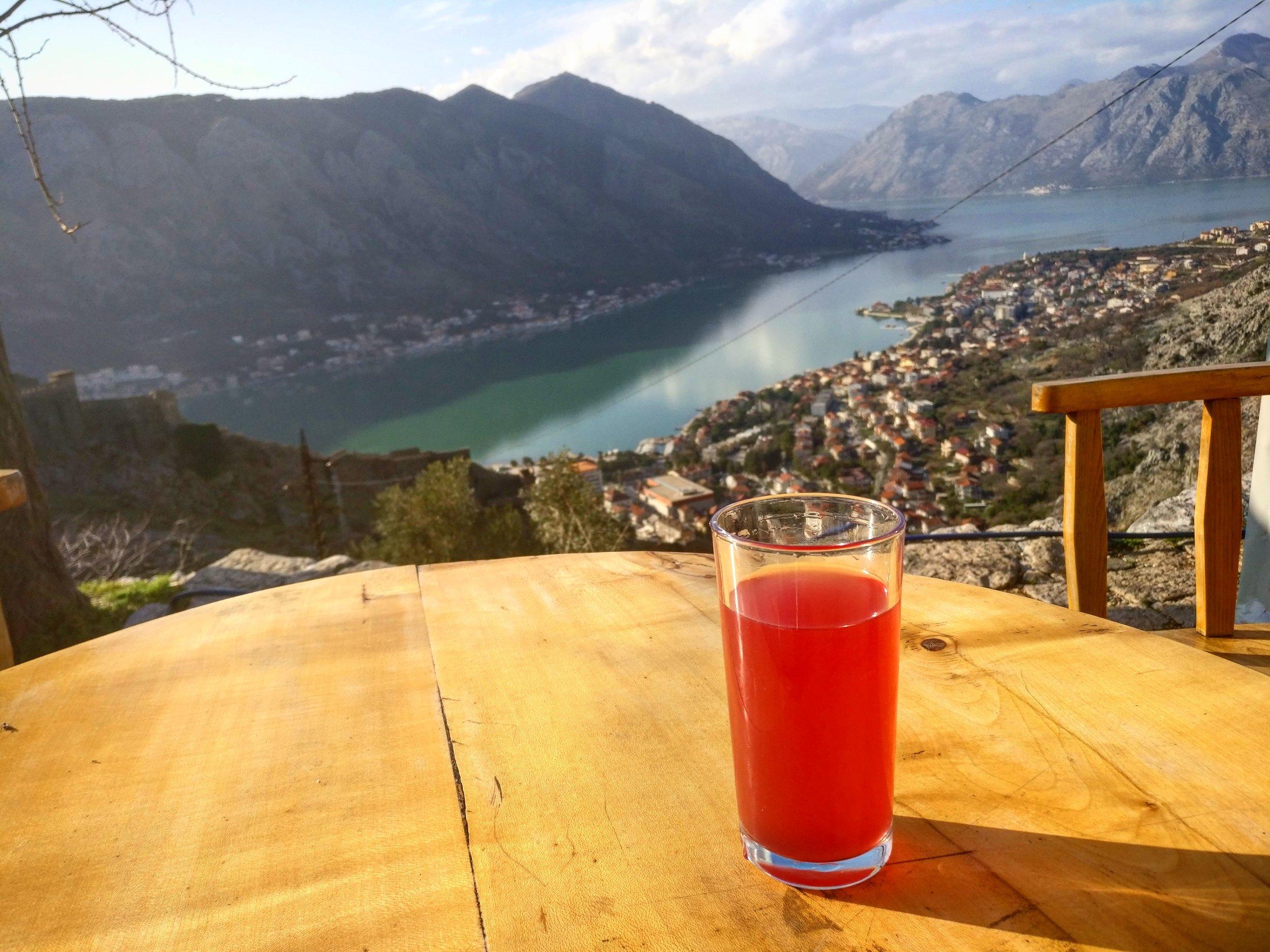 Pomegranate juice at the farmhouse