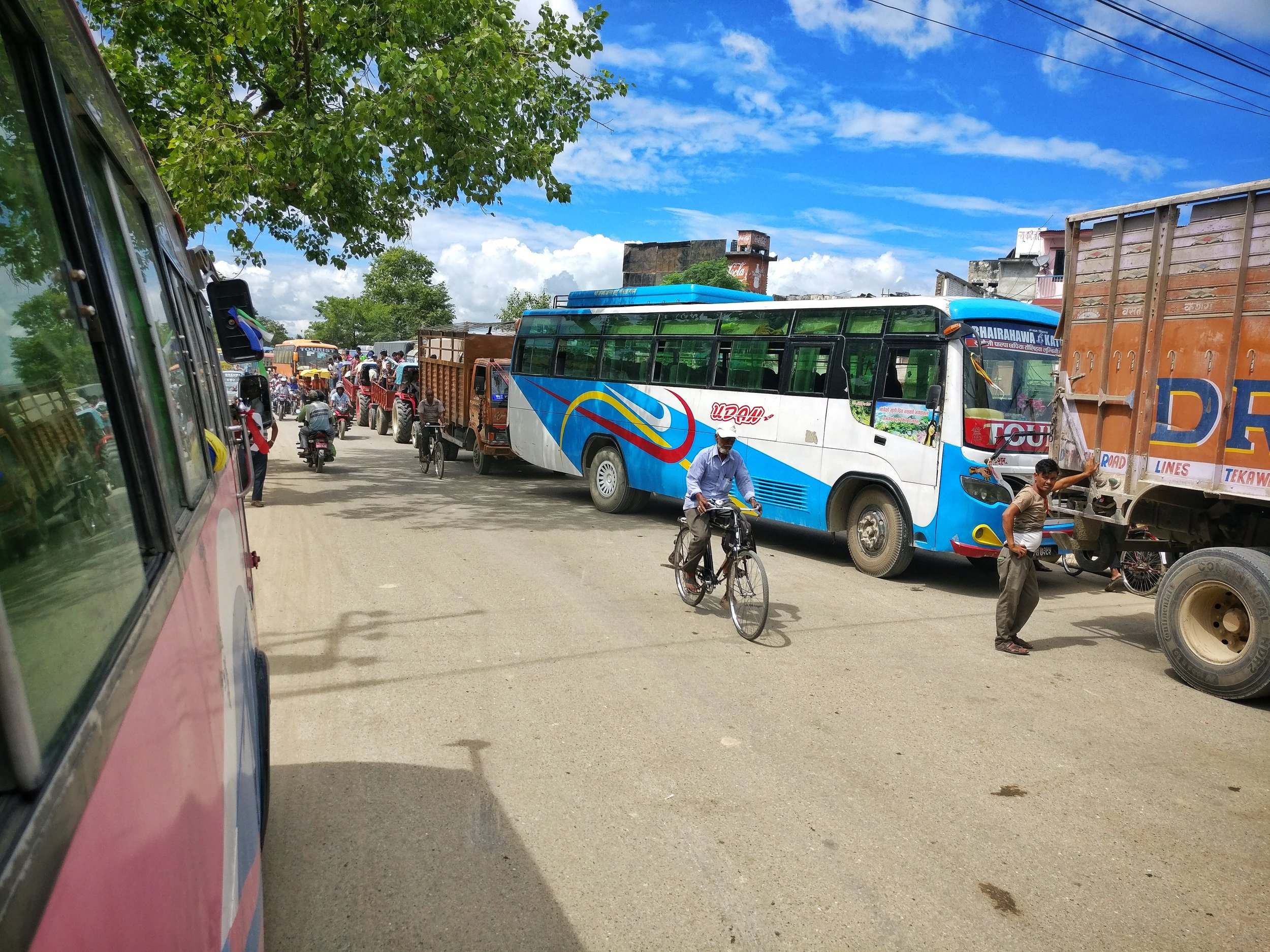Buses and trucks queuing at customs