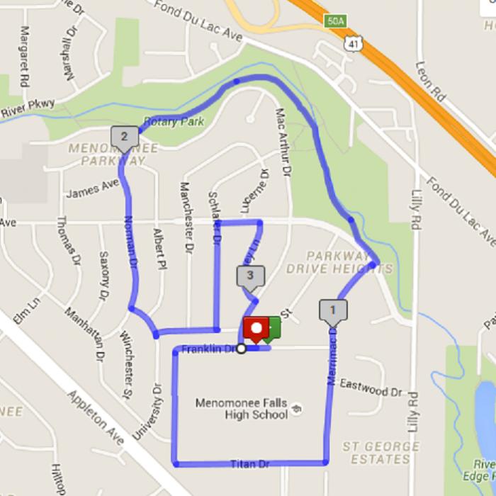 5k Run/Walk Course Map