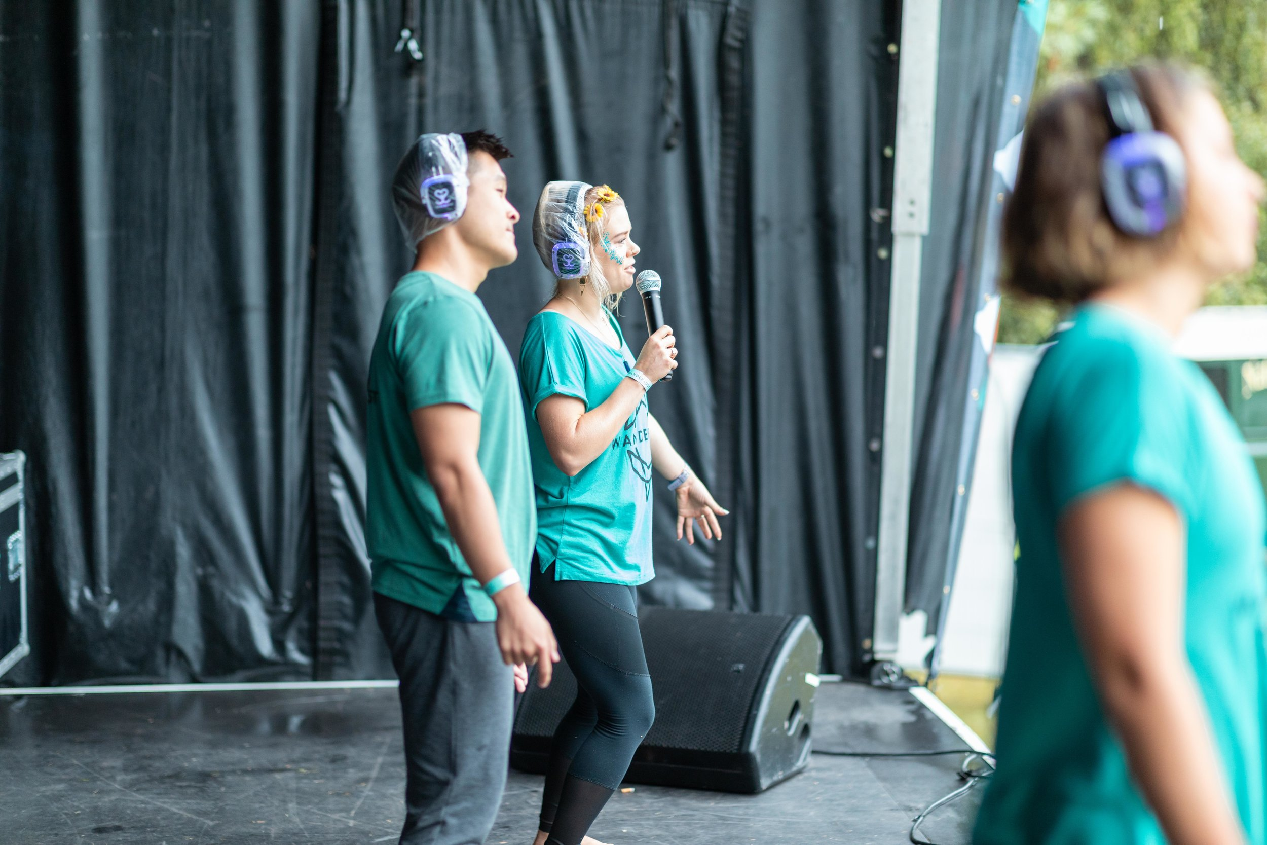 Opening up Wanderlust 108 Festival in London, August 2019 on the mainstage with David Kam and Margot De Broglie - Secret Sunrise Guided Dance