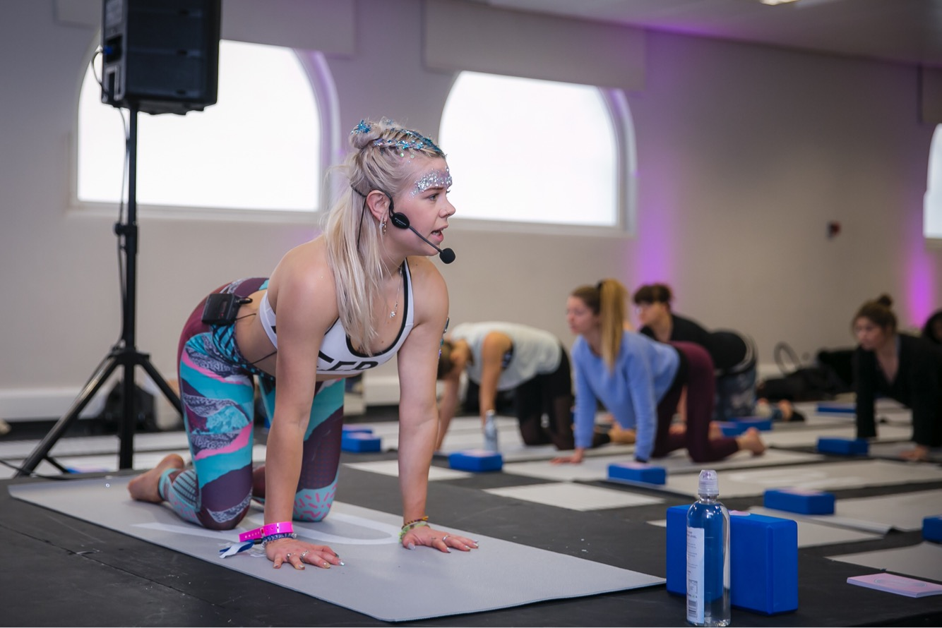 Teaching in the yoga studio at Be:Fit Festival 2018