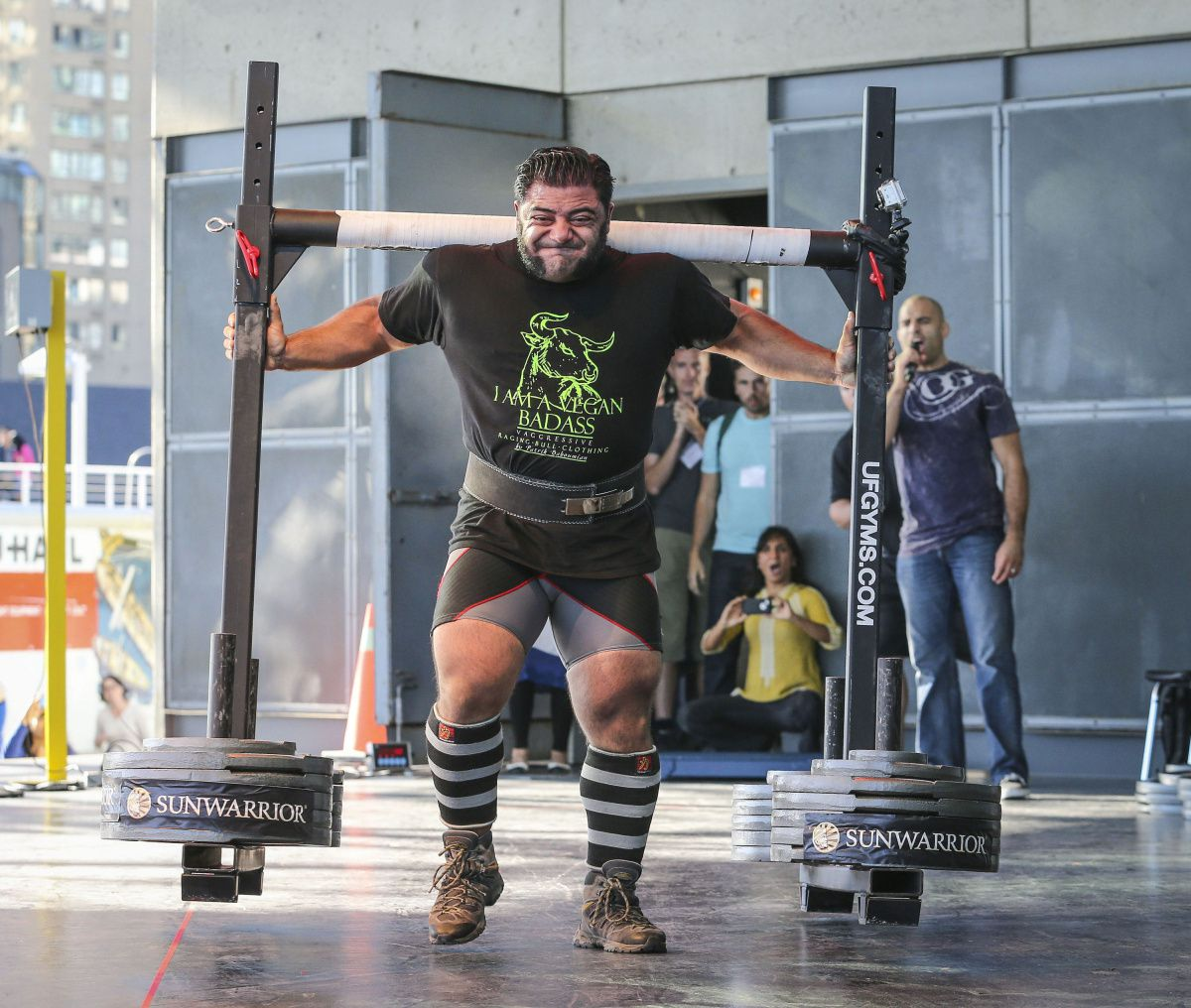 Patrik Baboumian, former body builder. Once Germany's strongest man, European powerlifting champion, and holds world strength records in yoke walking, beer keg lifting, and front hold.