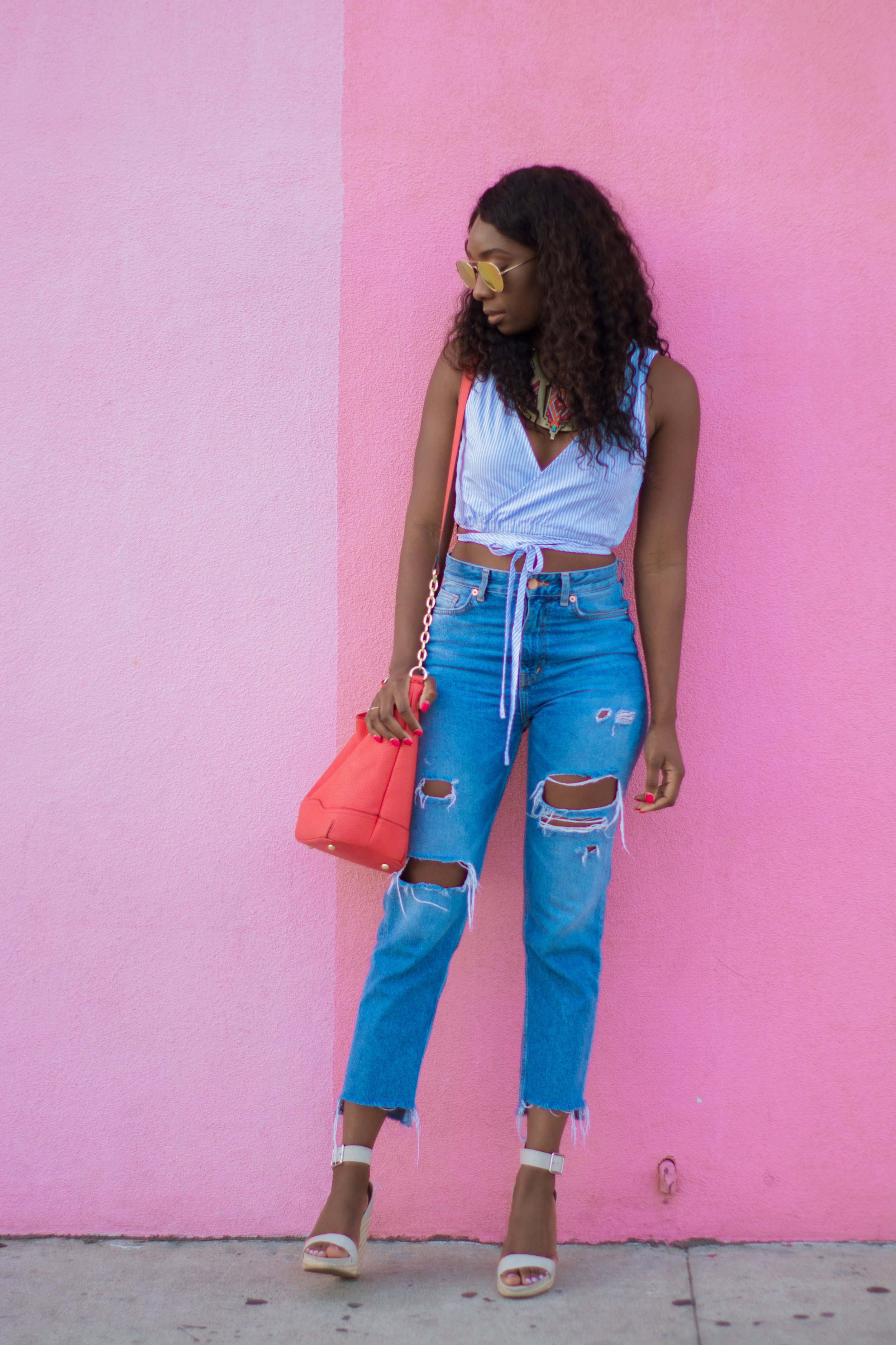 My favorite denim distressed H&M jeans styled with striped wrap top from Forever21