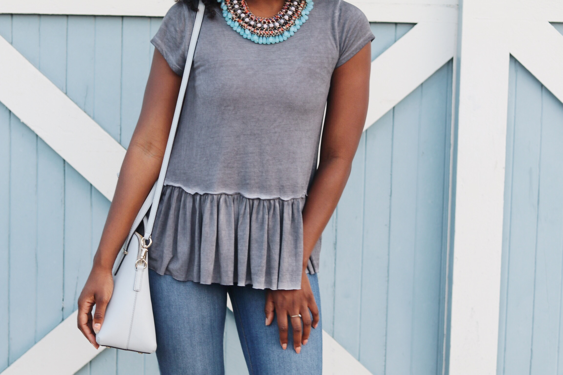 A close up of the ruffle tee! I love the distressed heather grey look.