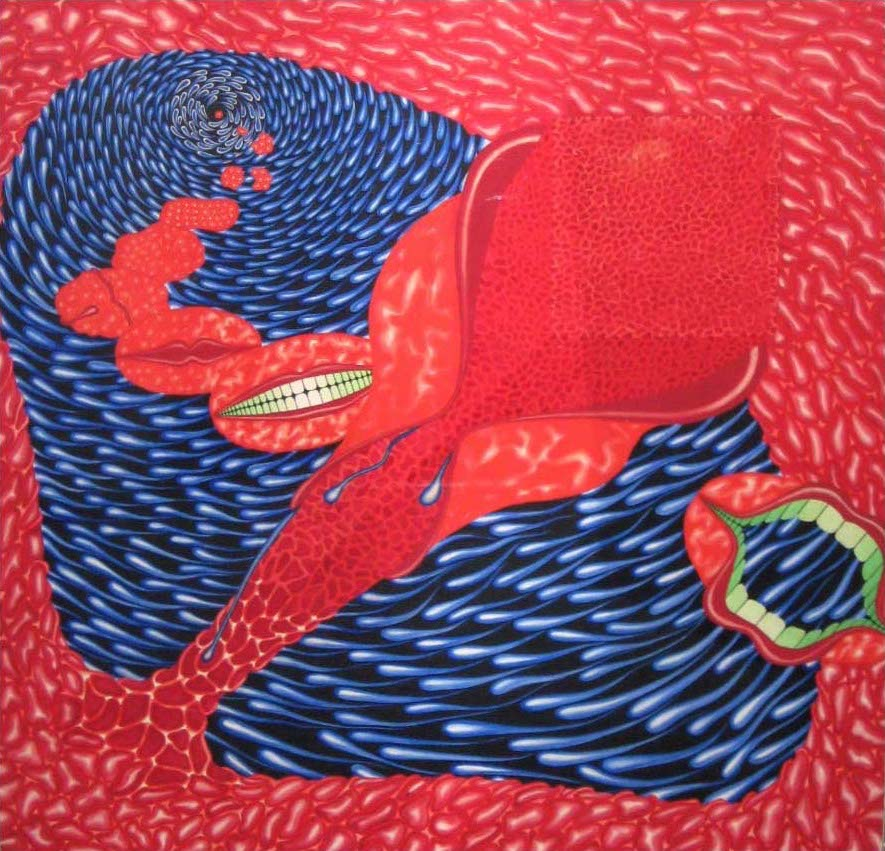 """Kiss"" 1971,  Gouache on rag board.  25 x 25"""