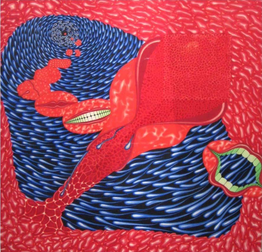 """Kiss,"" 1971. Gouache on rag board. 25 X 25"""