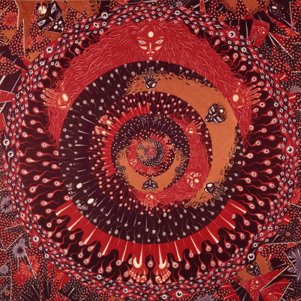 """""""Queenie,"""" 1971-72. Gouache on rag board. Triptych,center panel.30 X 30"""""""