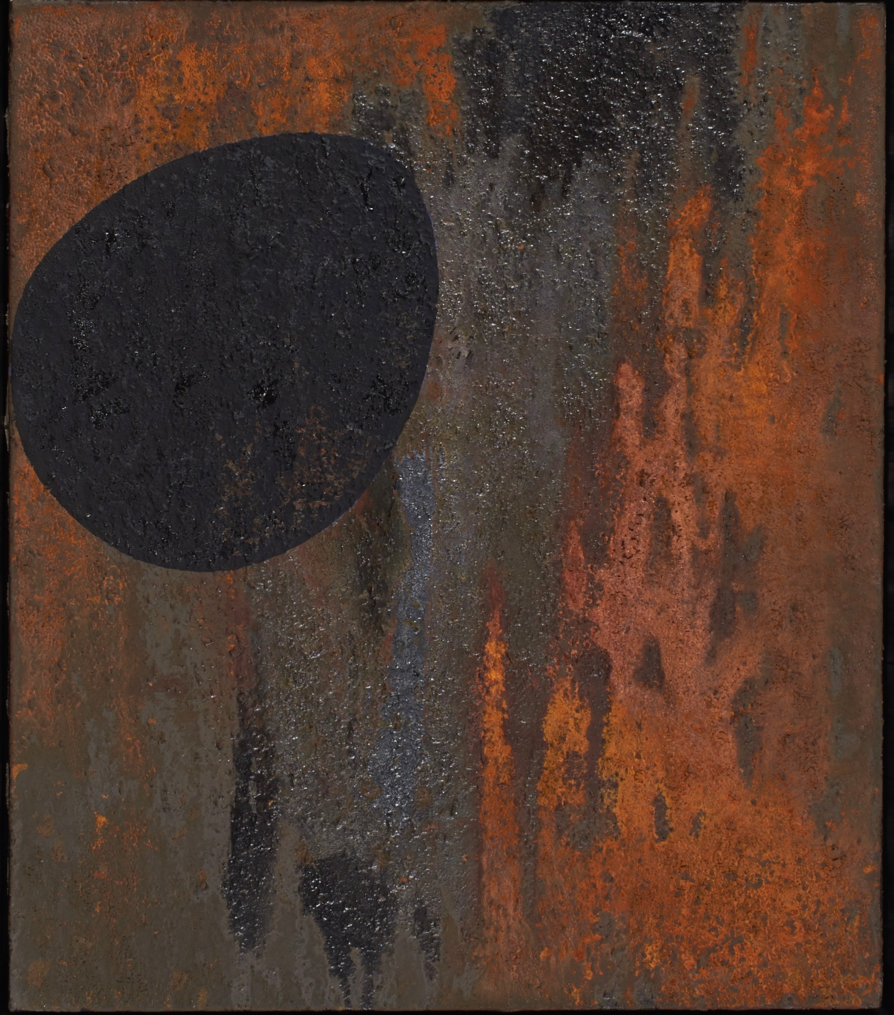 """Untitled, 1988.  Iron oxide and acrylic on canvas.  26 x 30"""""""
