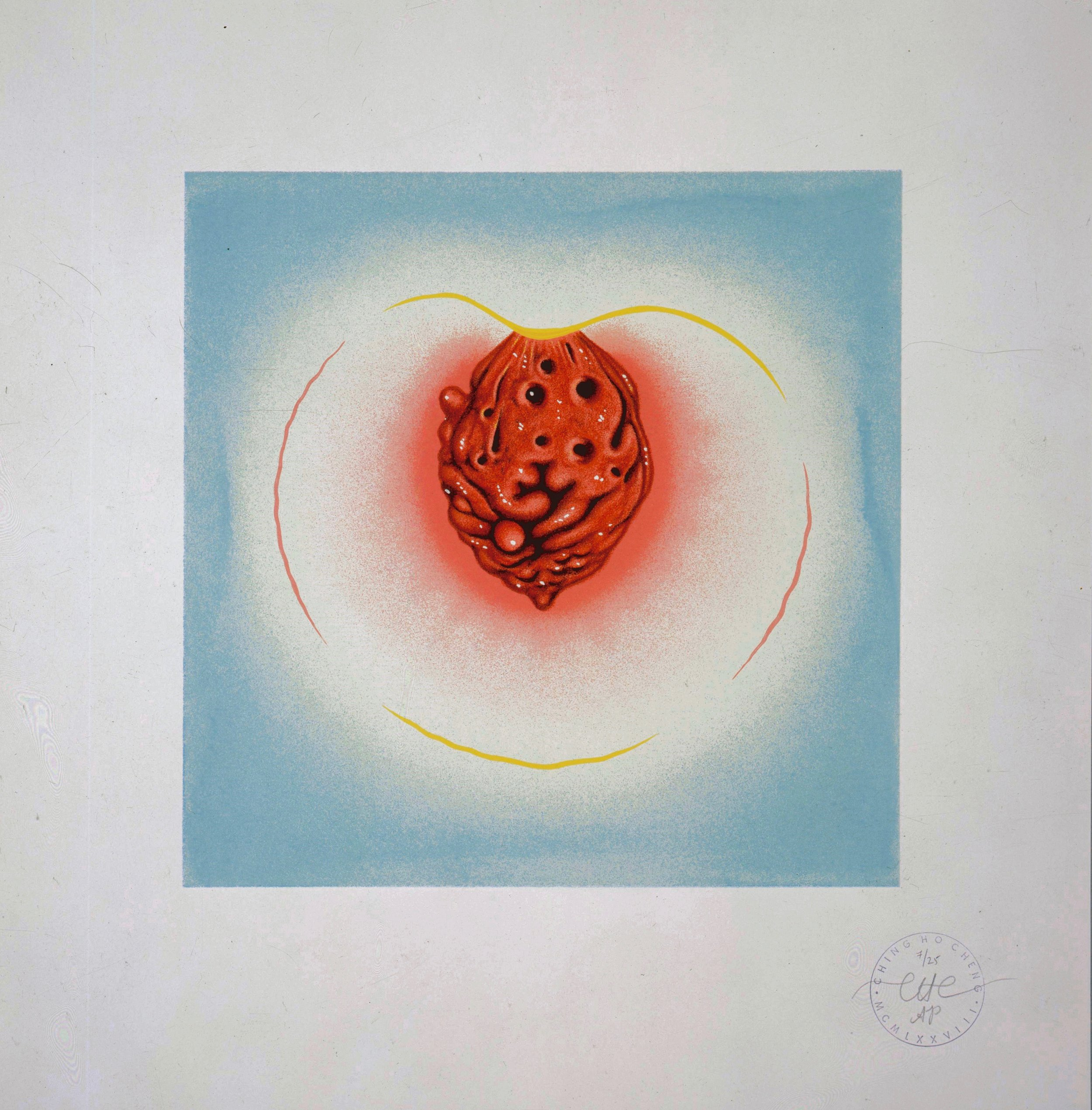 """Peach"" 1978.  Limited Edition.  21 3/4 x 19"""