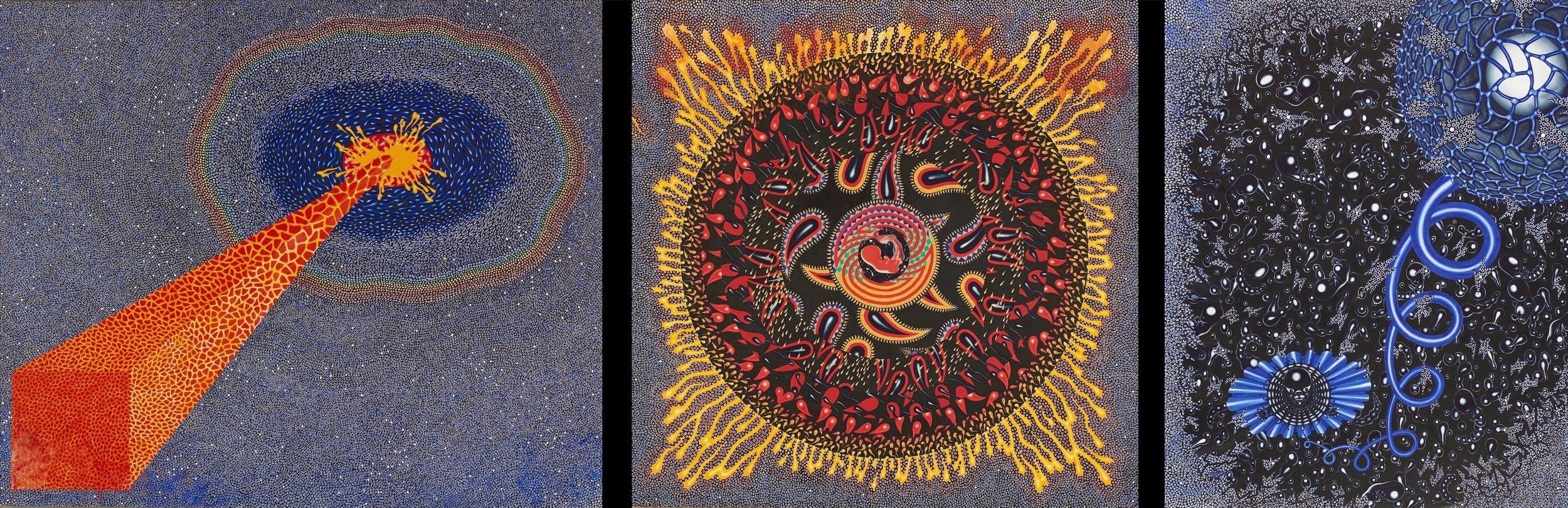 """""""X Triptych"""" 1970–71.  Gouache and ink on rag board.  Panel I  30 x 36"""", Panel II  30 x 30"""",  Panel III  30 x 24"""""""