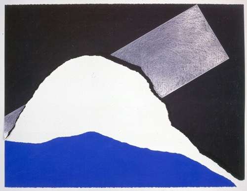 """The Certainty of Blue IX,"" 1984.  Charcoal, graphite and pastel on torn rag paper.  38 1/2 x 50"""