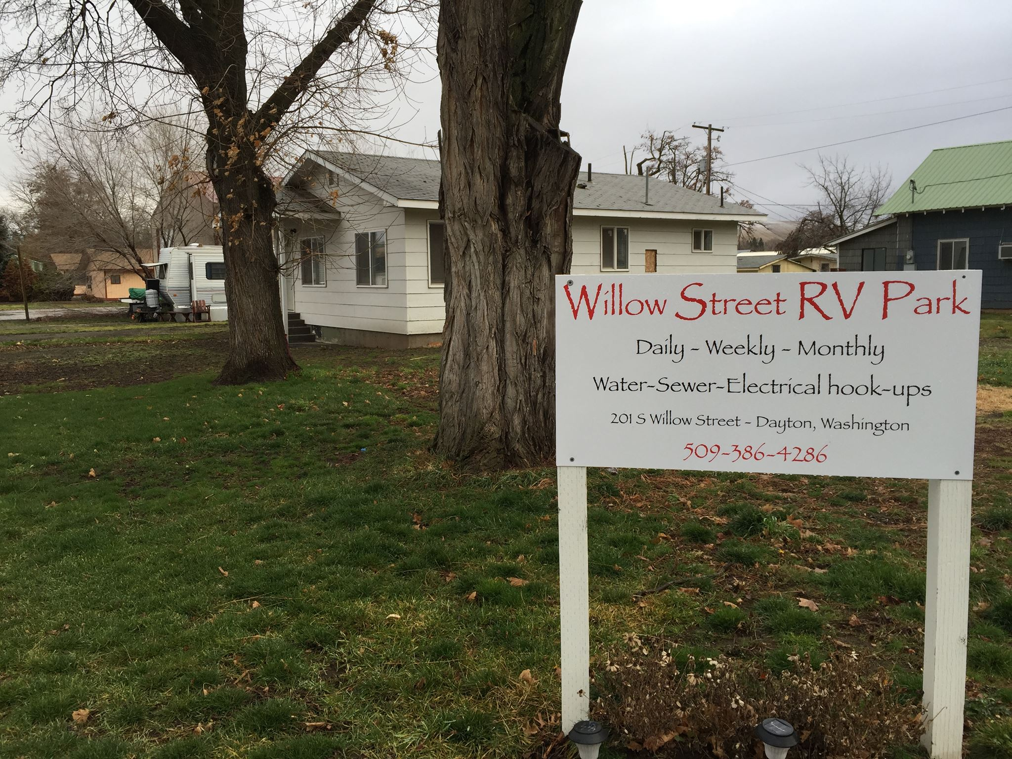 Willow Street RV Park - Willow Street RV Park was established on May 1st, 2017.The RV Park currently has nine Recreational Vehicle hookups, an office building, a restroom/shower room, and a coin operated laundry machine for RV Park patrons. The RV Park has an open layout and contains multiple trees that provide shade.Main Street businesses are within walking distance of the RV Park. Touchet River and the Downtown Shopping and Dining are just two blocks away.Address: 201 S Willow St Dayton, WA 99328 509-386-4286