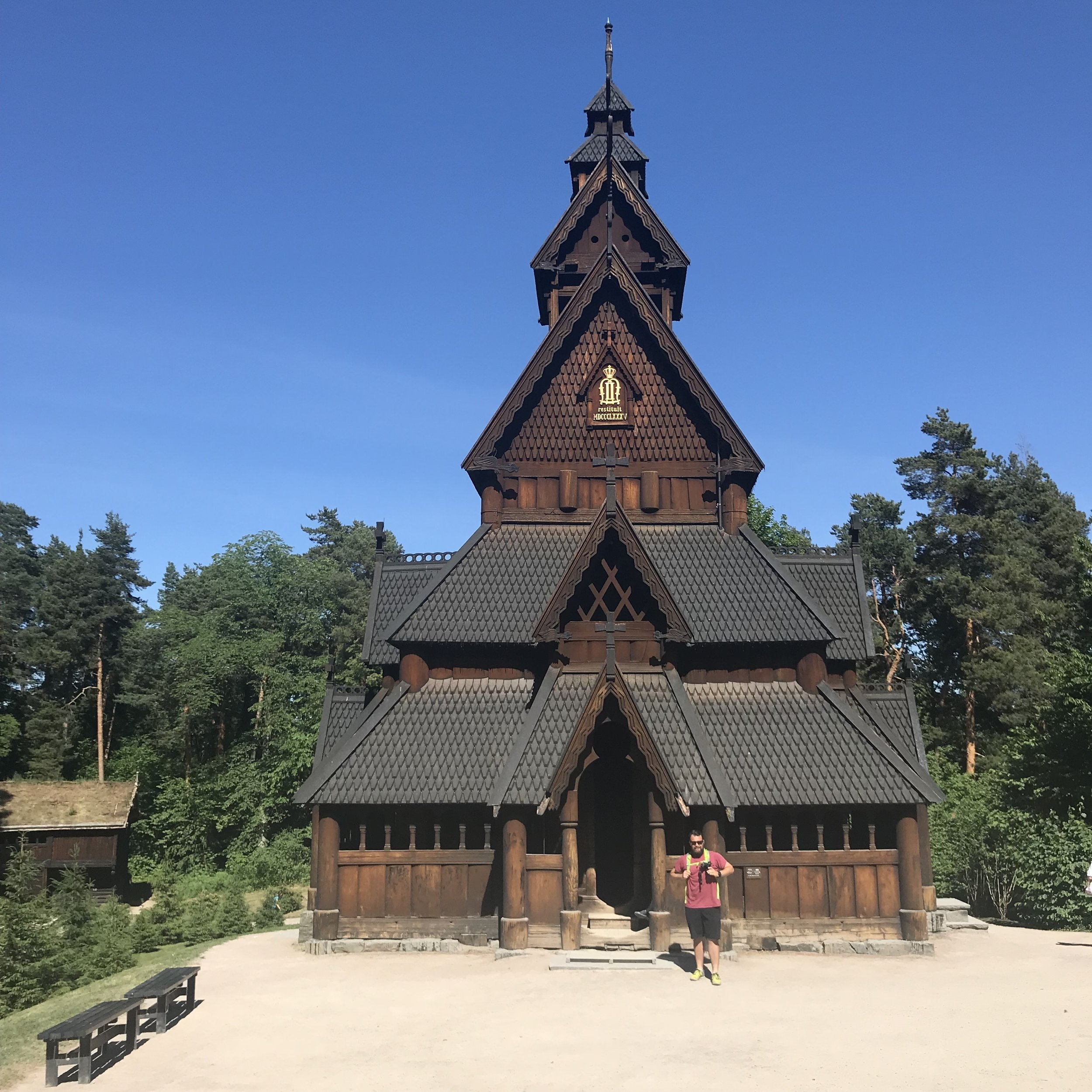 Checking out a Stave Church at the Norwegian Museum of Cultural History.