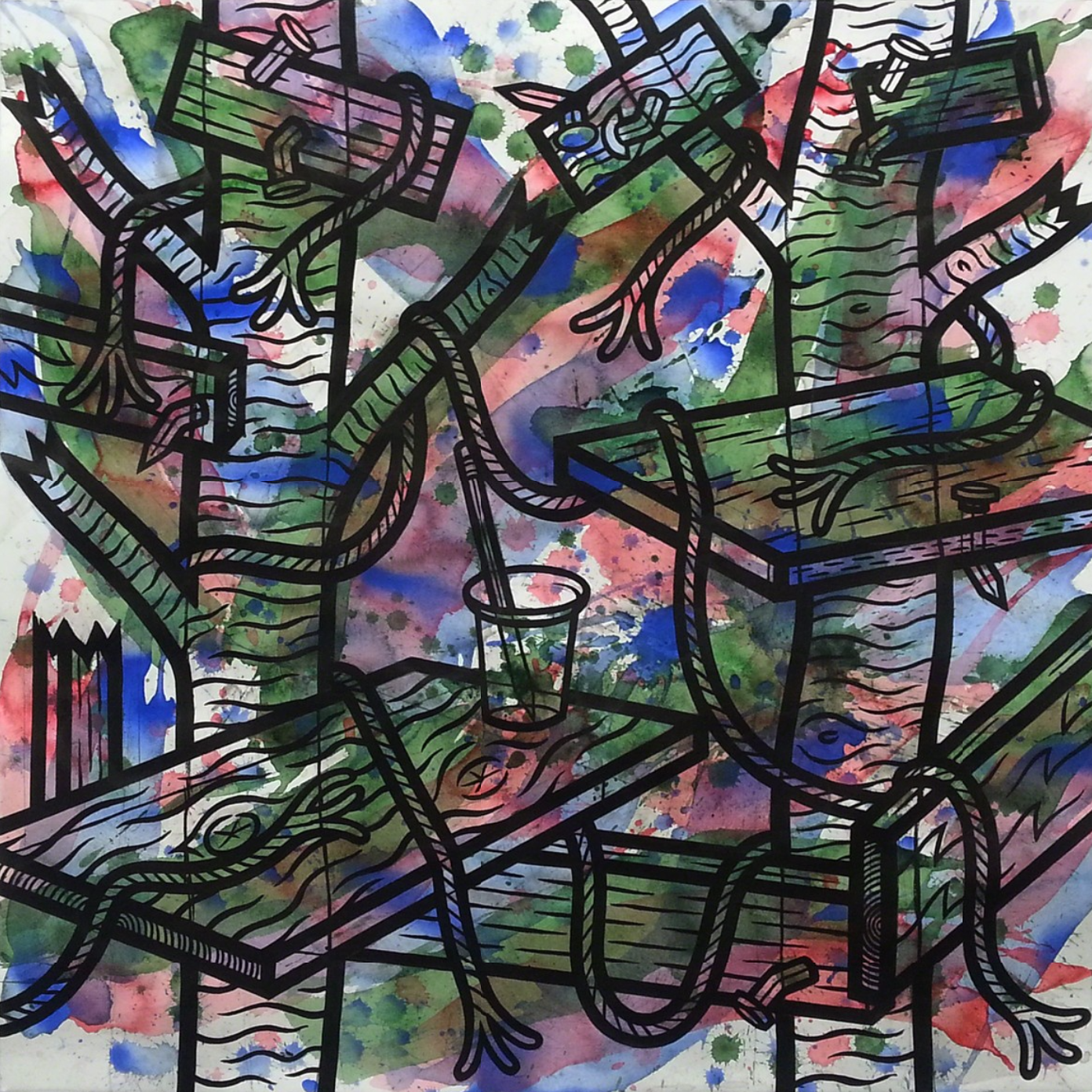 """""""Moment"""" watercolor and ink on paper, 30""""x30"""""""