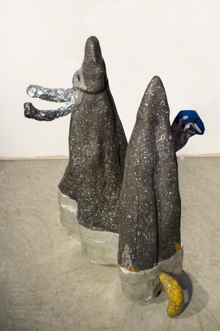 """Weird Sisters (gnomish)""painted cypress root from Ray's Sunset Junque, Saugatuck, MI, styrene, inkjet print (garden, Urbana, IL March 2015), polyurethane, aluminum, epoxy, 28""x22""x18"""