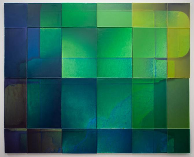"Joanne Ungar, ""Modern Muse"" (wax, board, paint, pigment) 48""x59"""