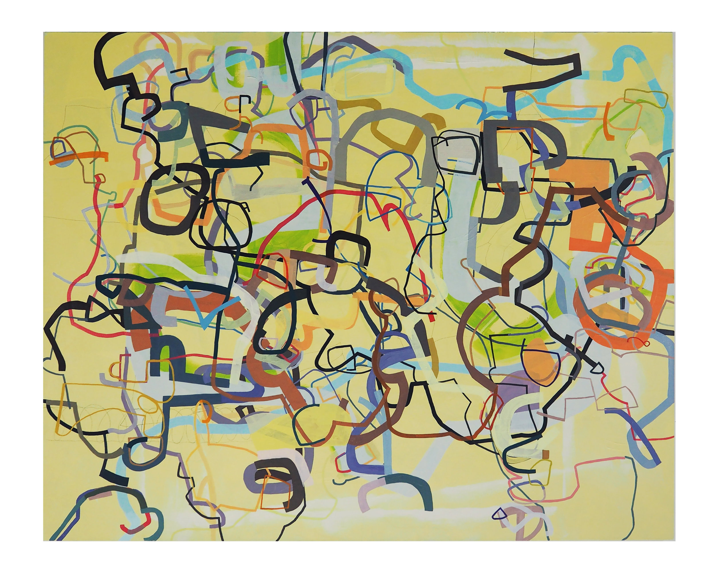 """""""See Here, What is the Meaning of This?, (oil, graphite on canvas; 48""""x60"""")"""
