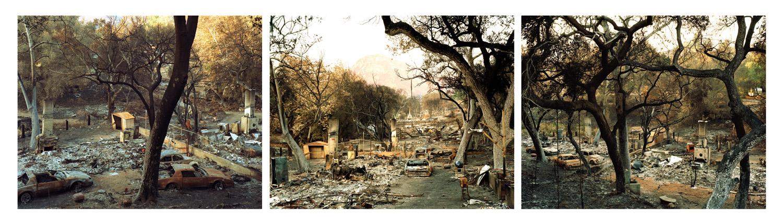 """Wildfire #4, #4b, #4c Triptych"" Cedar Fire, El Cahon, CA 2003"