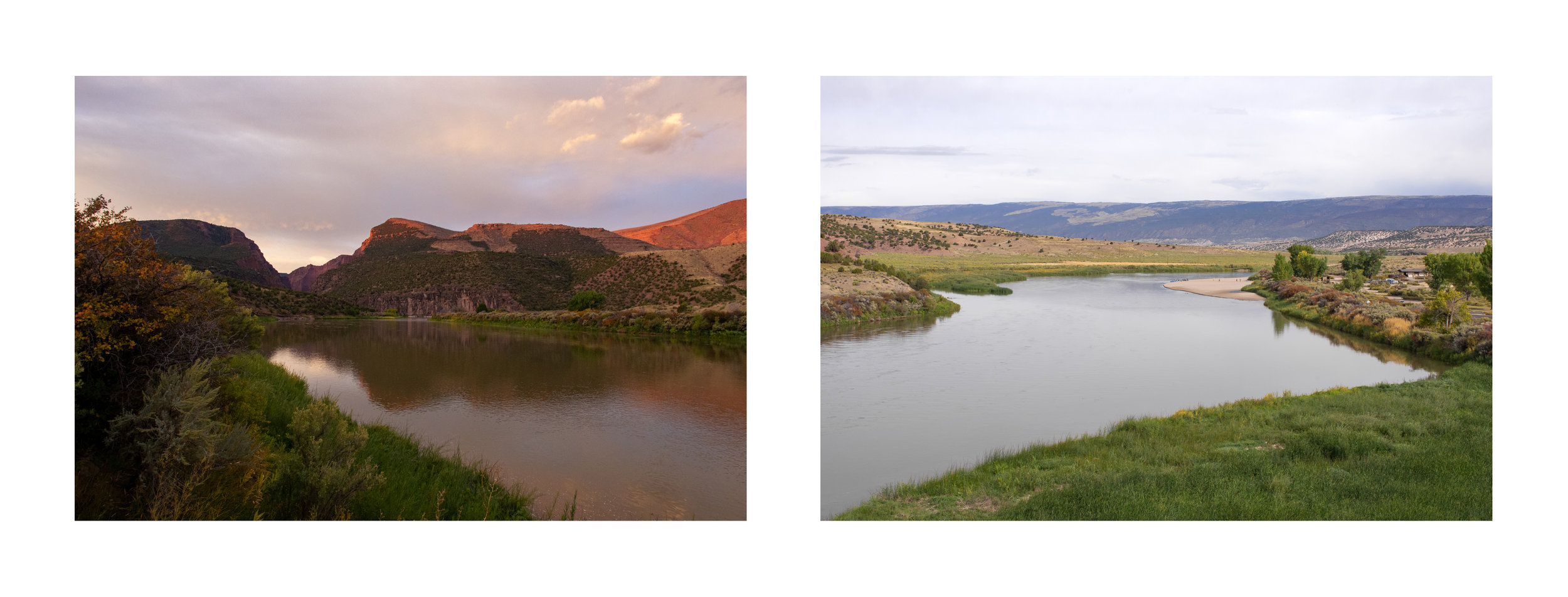 "Edie Winograde: Diptych from series Sight Seen; ""Gates of Lodore, dawn"" and ""Green River, raft"""