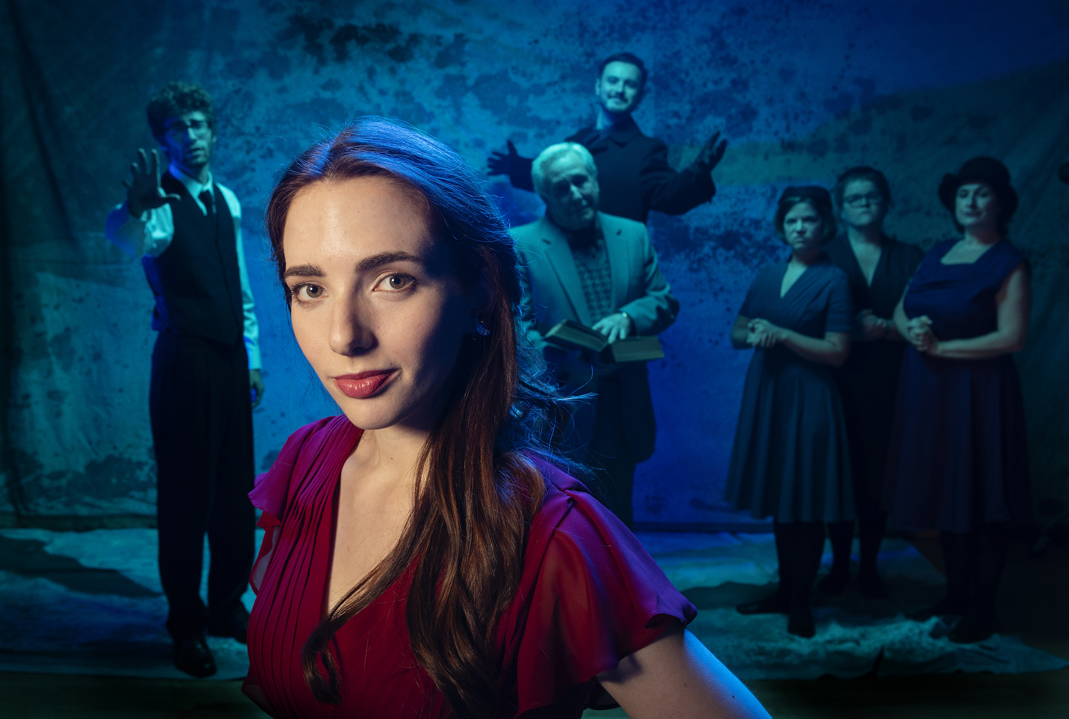 Kate Cannon leads the cast of Eurydice. Photo Tim Fuller.jpg