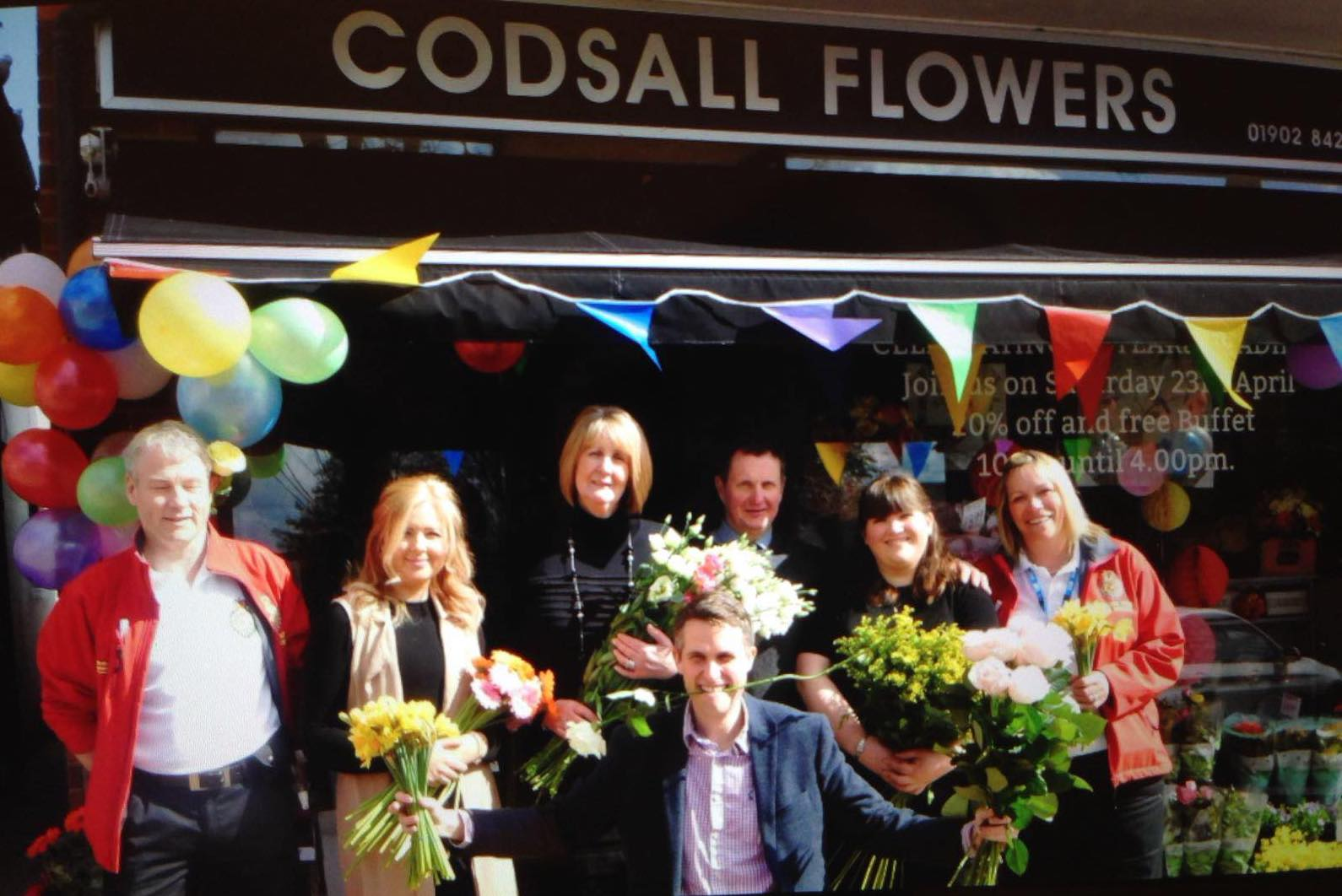 Florists Outside Codsall Flowers with MP Gavin Williamson