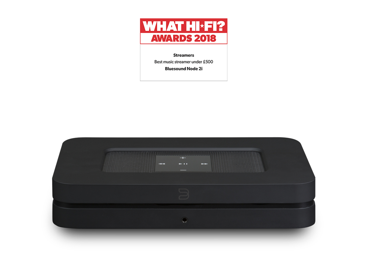 The Bluesound Node 2i available in black or white allows you to convert and existing Hi-Fi to a full range of streaming services whether on a home network, AirPlay or Bluetooth