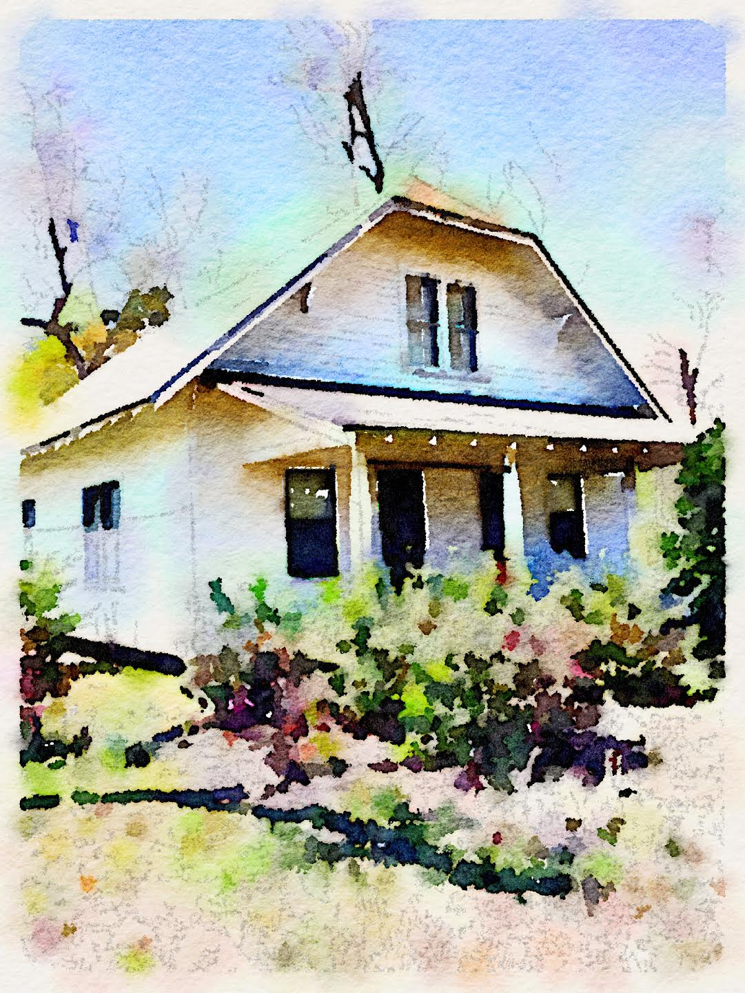 Artwork I had created of our little farmhouse that I had planned on giving the owner to remember her family home.