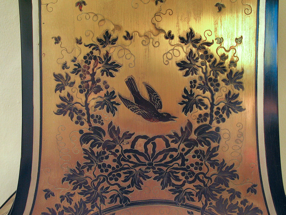 Boulle marquetry with engraved tortoiseshell and pewter threads inlaid into cut brass