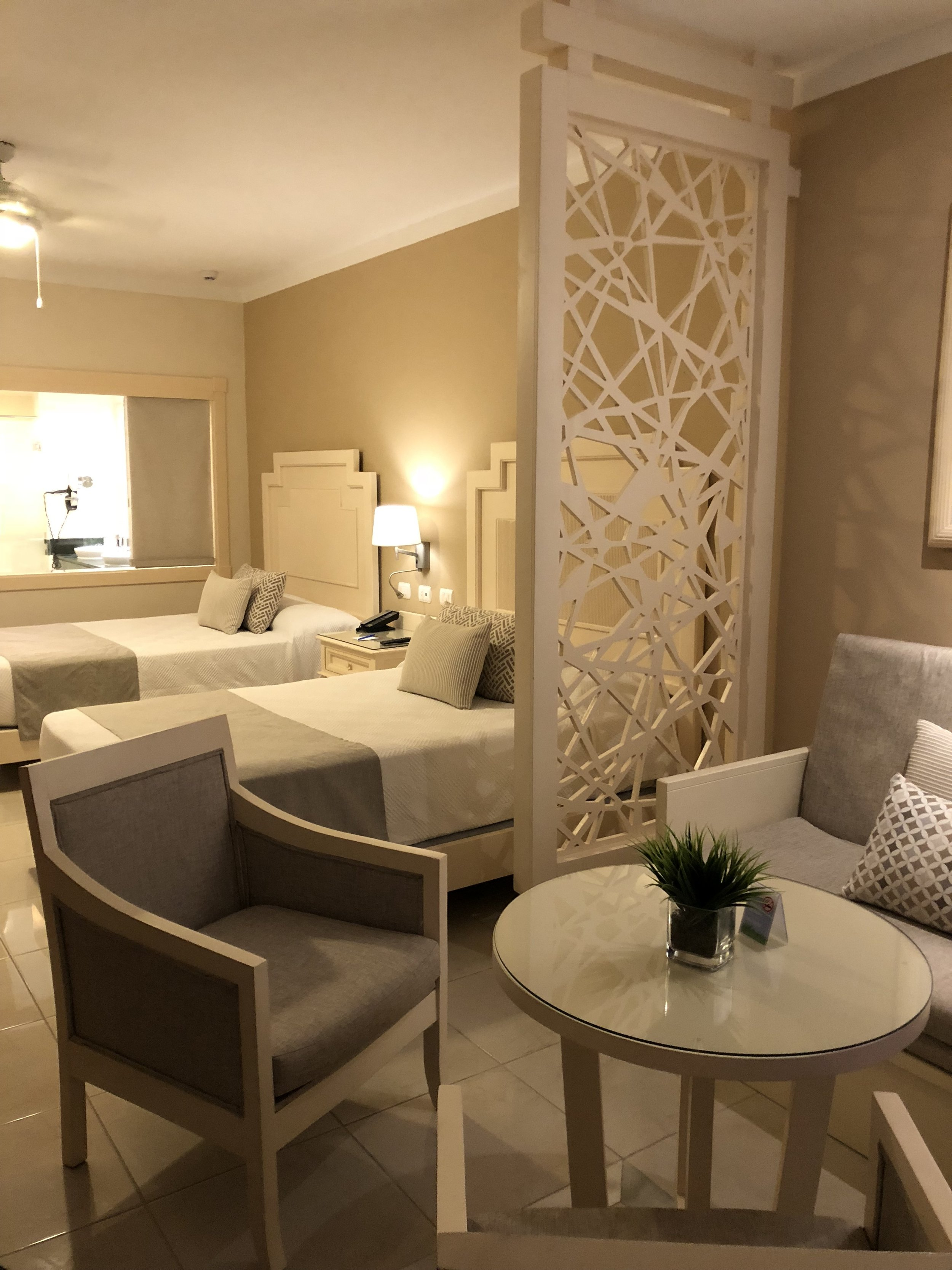 View of the double beds in the junior suite deluxe.